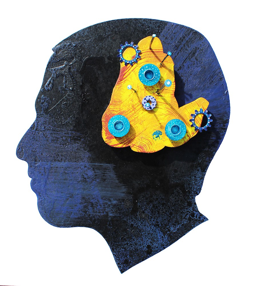 Black and blue side profile of head with a yellow hunched figure within. Painted blue objects on inner yellow figure.