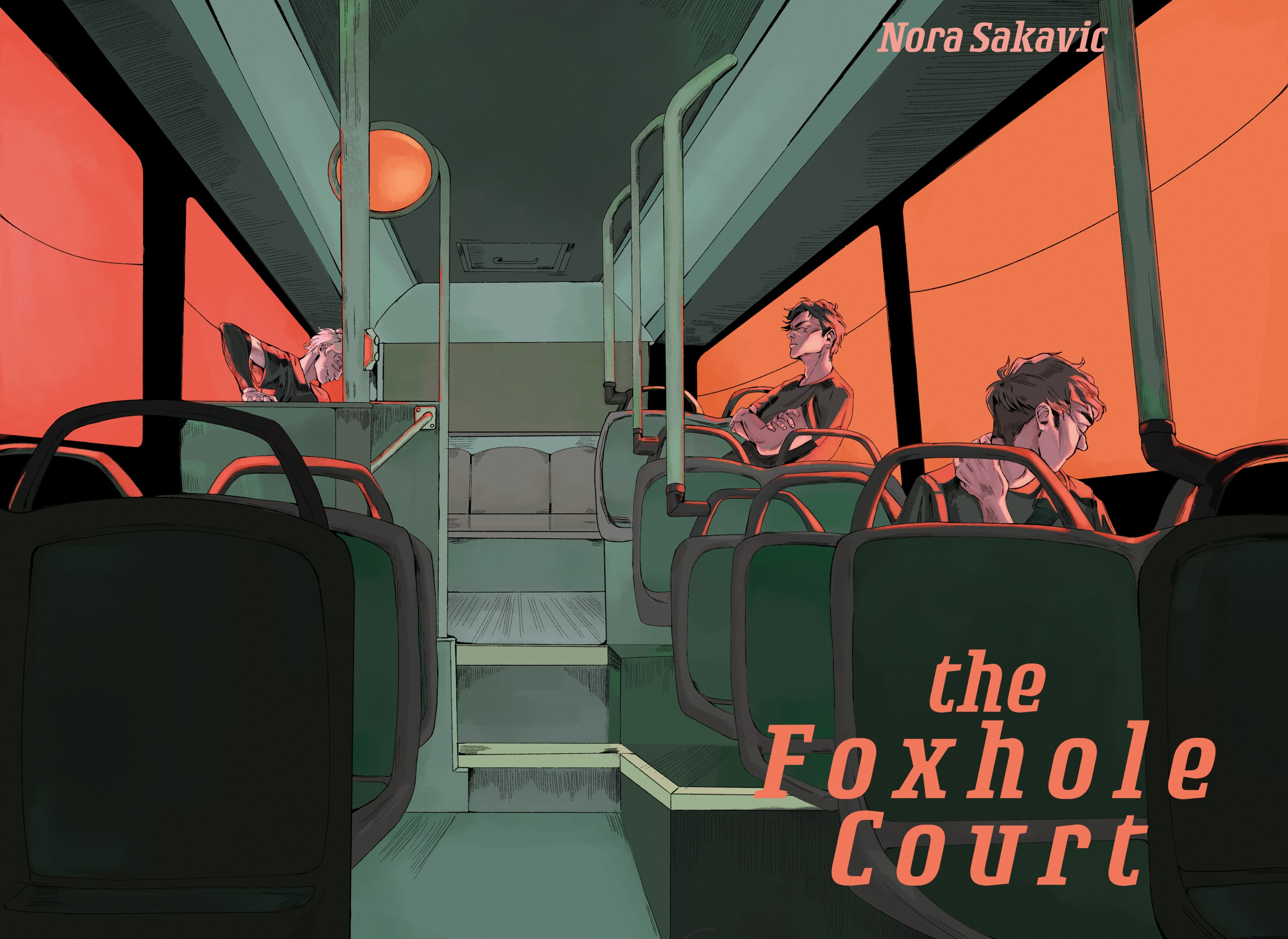 The Foxhole Court book cover. Shows three figures on a bus while the sunsets.