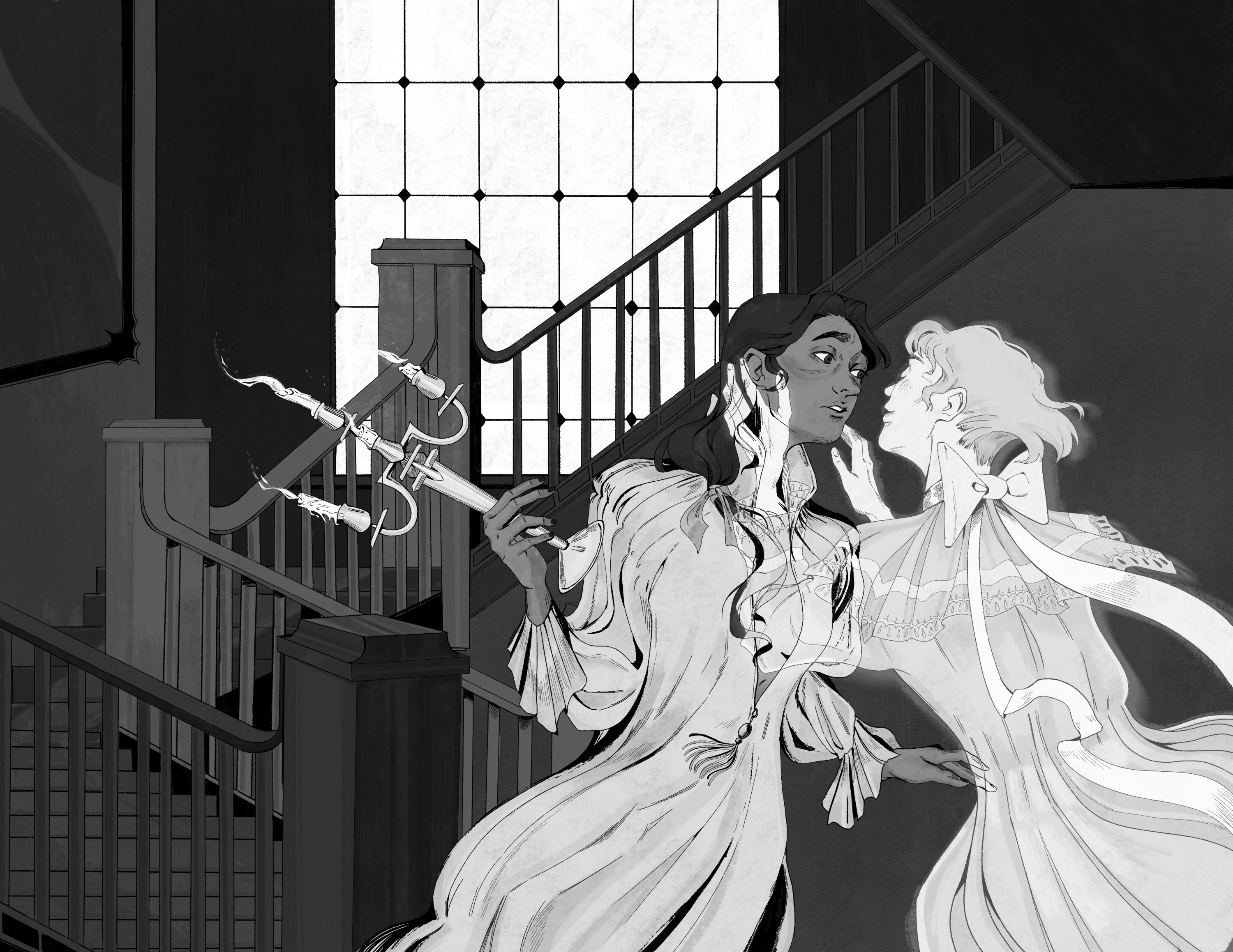 A black and white illustration of a girl descending the staircase into the embrace of a ghost.