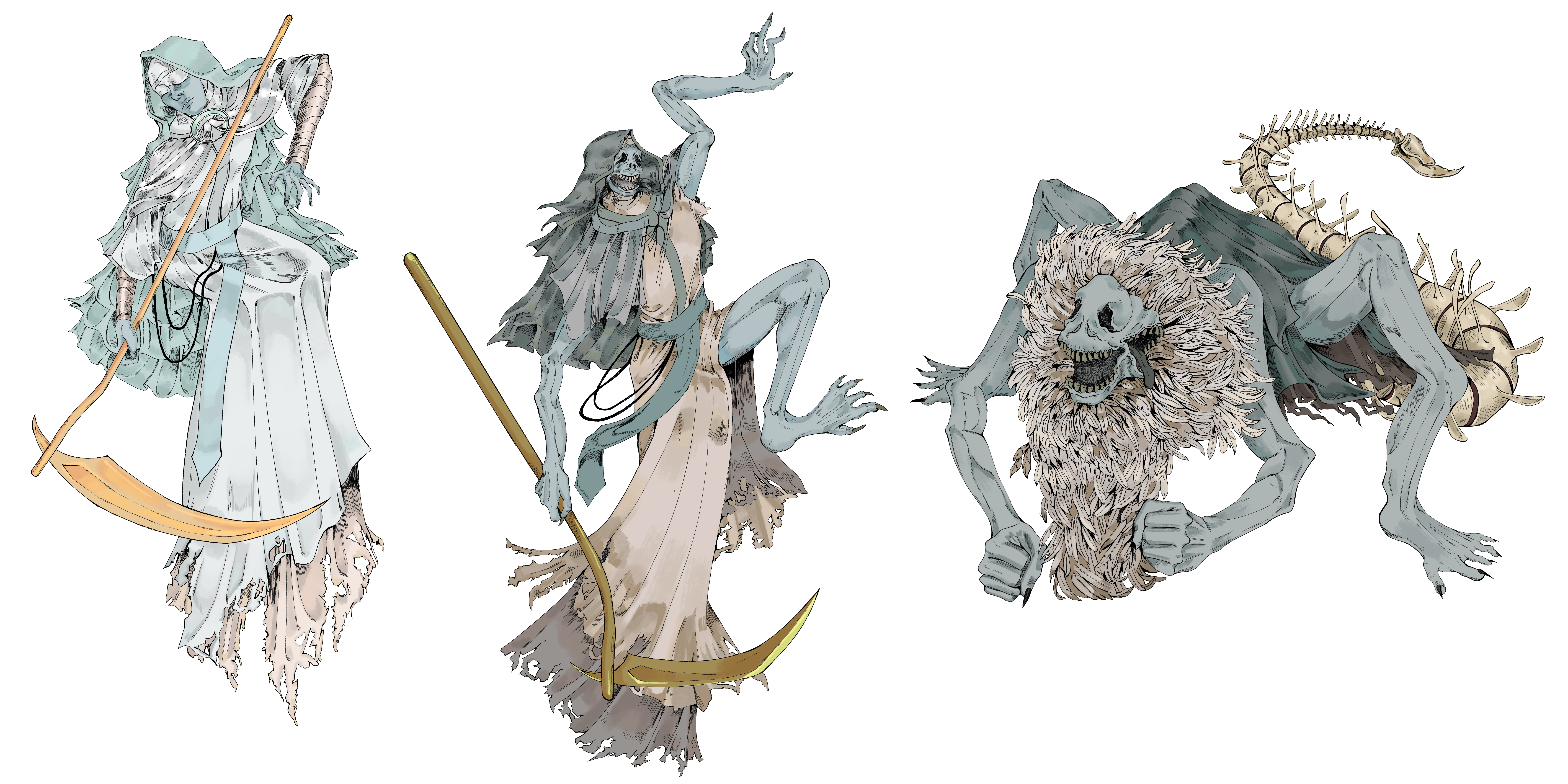 A three stage boss design of a nun turning into a feather covered beast.