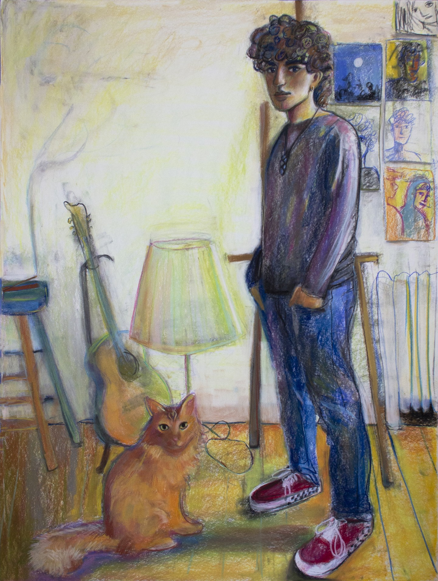 A portrait of a figure and a cat in an interior space, both with their gaze at the viewer. An array of objects are rendered behind them- an easel, a lamp, a guitar, a stool with incense burning, and a collage of drawings on the wall.
