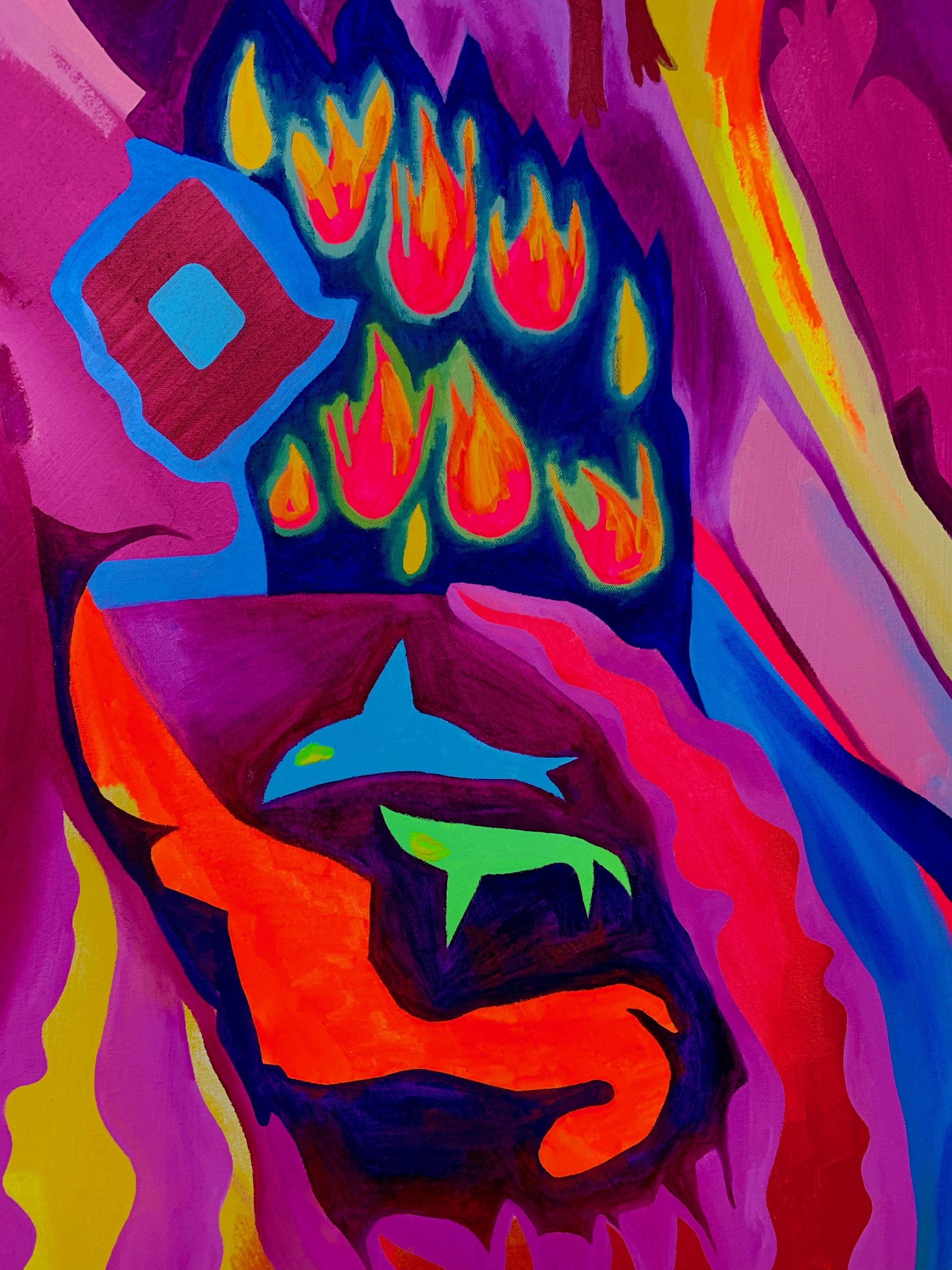 Large-scale, multicolored abstract painting