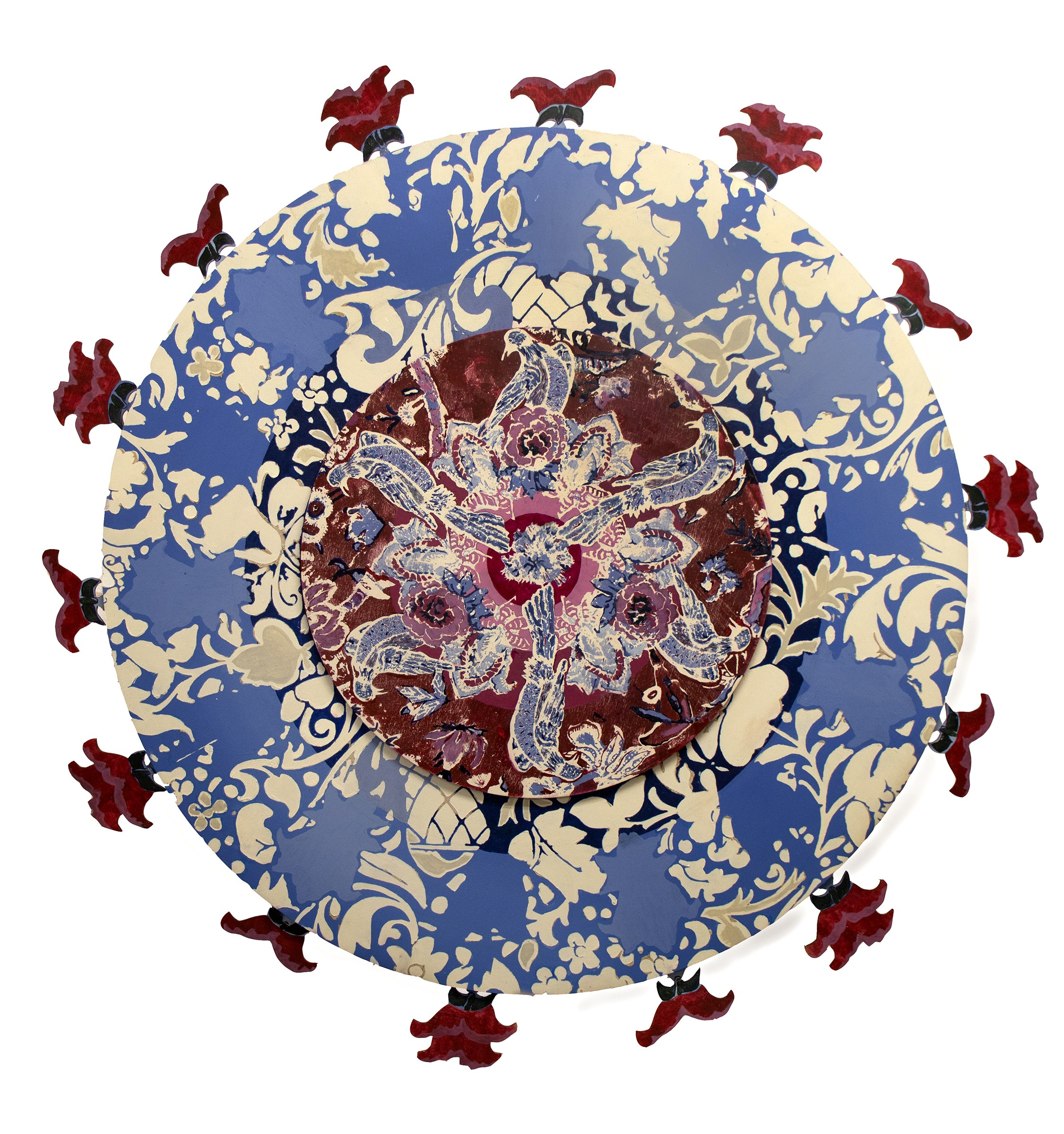The Calico Acts is a vibrant screenprint on wood split into three circular layers. The innermost circle showcases a bird flapping its wings in an attempt to escape the outer circles. The next layer depicts the British glazed imitation of Chintz and has bl