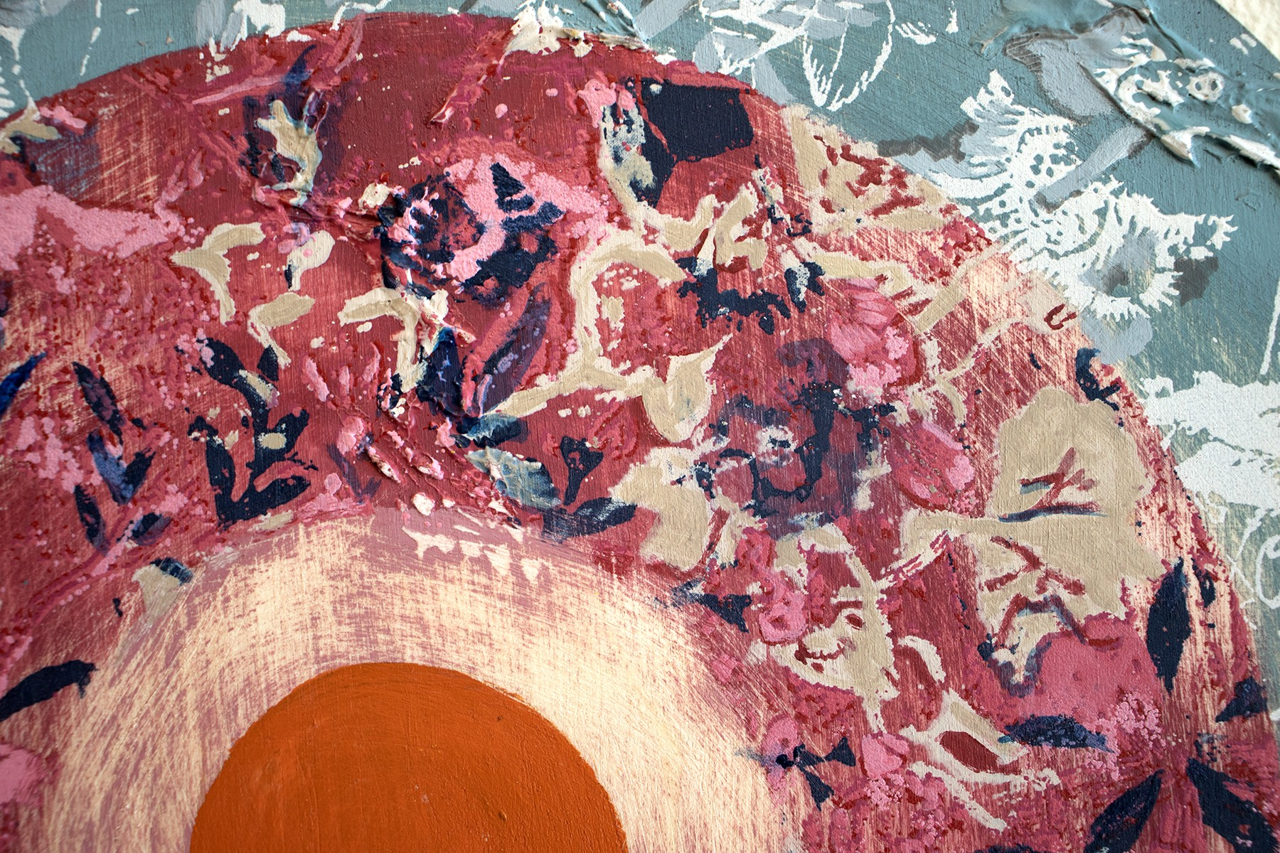 Calio Craze is a vibrant screenprint on wood separated into four different circles, each a different color. The piece has raised segments in the shape of birds that blend into the design. The imagery is a rough collage of different Chintz fabric, combinin