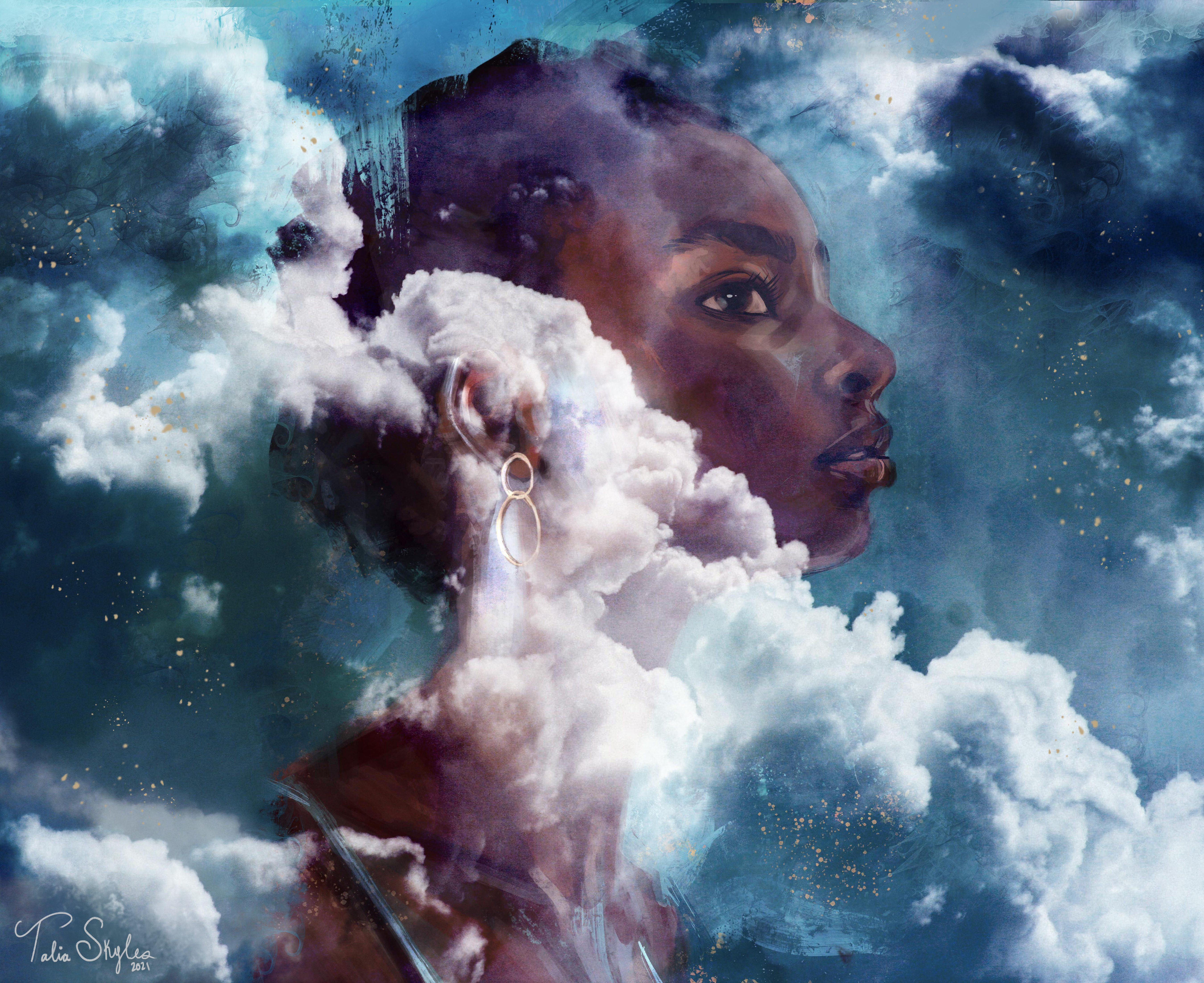 A blue painting / photo collage of a black woman with her head submerged and blending into the clouds