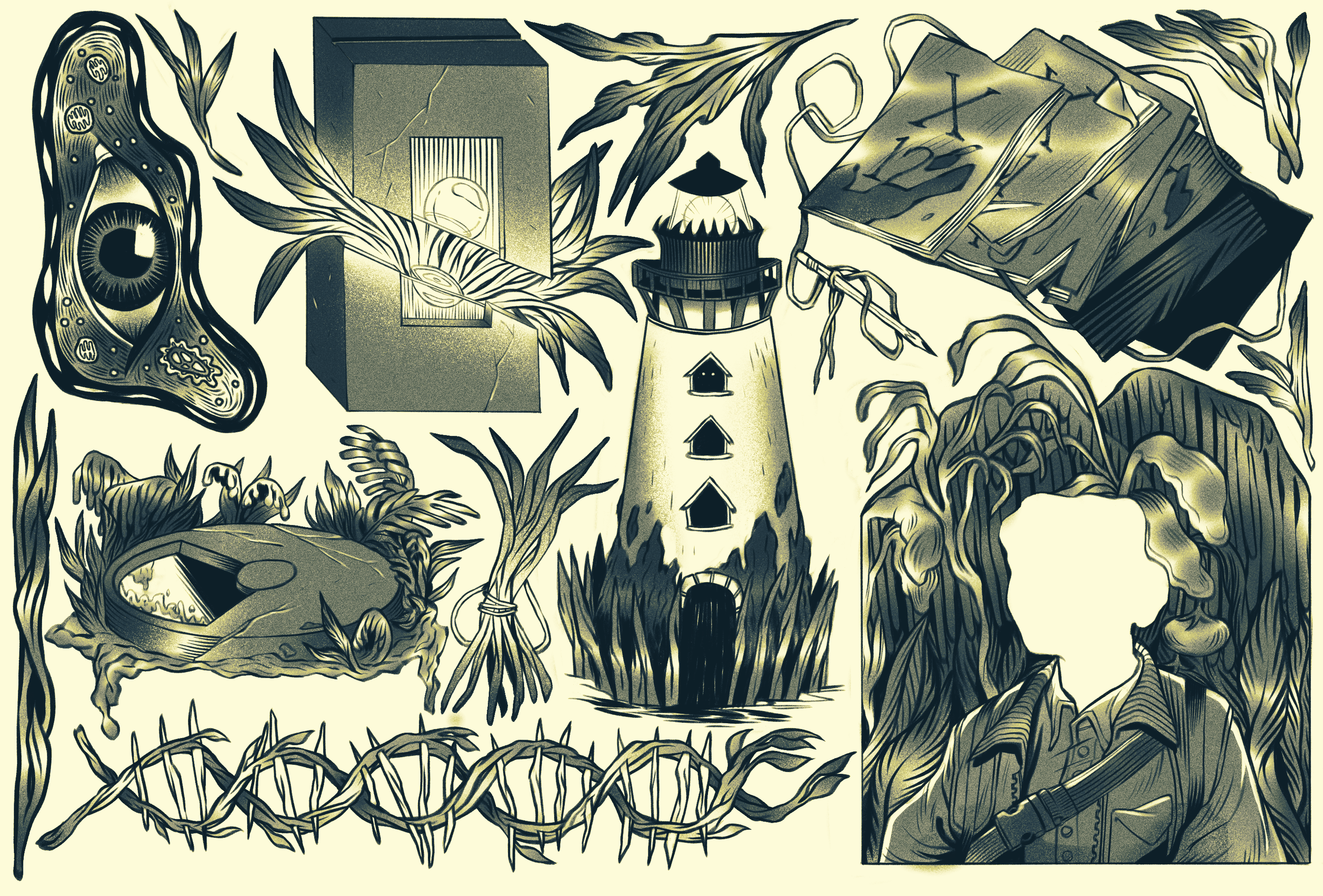 A tattoo flash sheet depicting various symbols and images from the book Annihilation by Jeff Vandermeer. Images include an eye within an amoeba, the box given to assess danger, the field journals, the tunnel, the lighthouse, a DNA strand made of plants, a