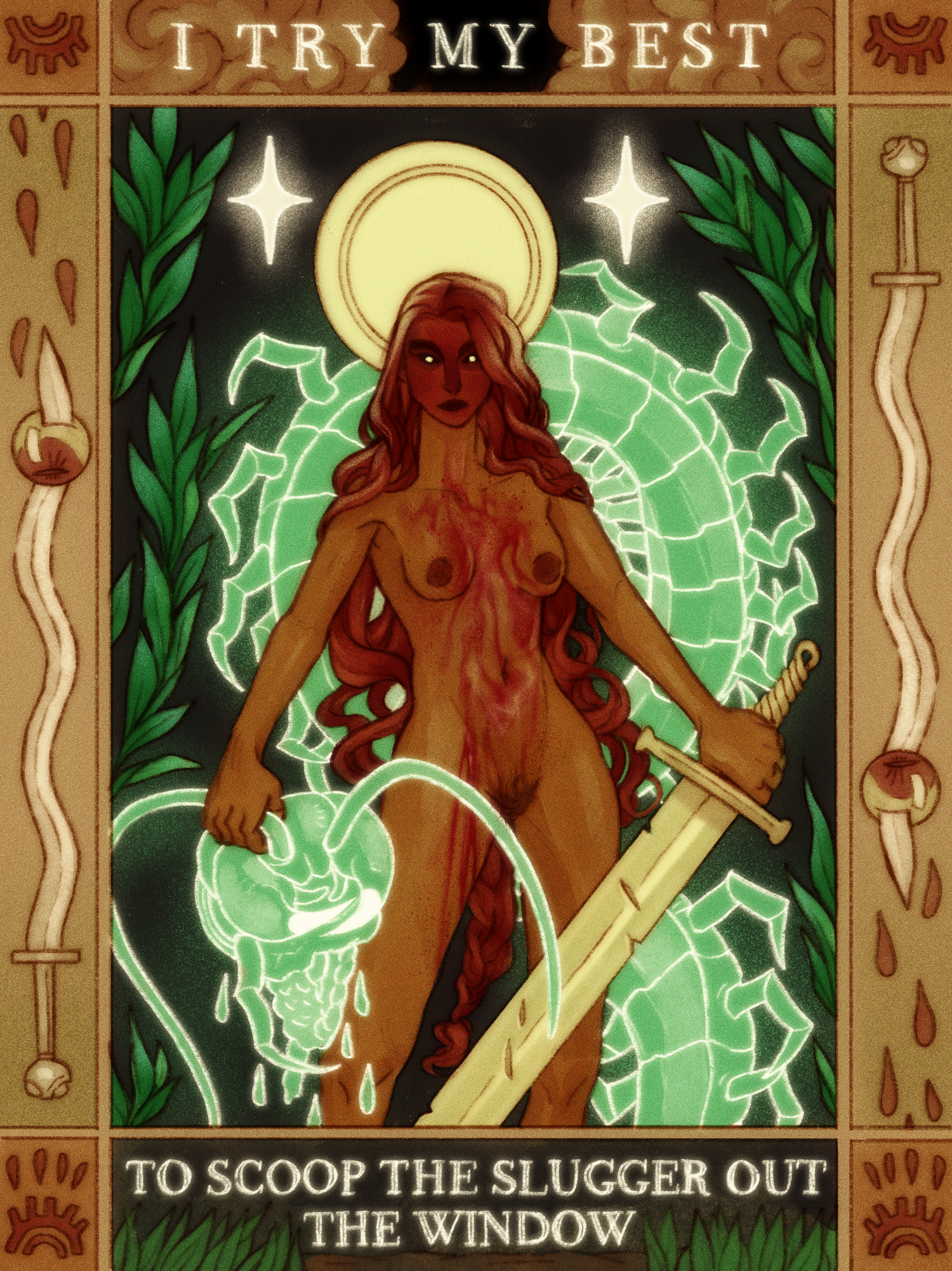 A vertical illustration with inspiration from russian fairy tale illustrations, depicting a woman covered in blood with a large sword and a giant severed centipede head. The centipede's body wraps around behind her, and her head is framed by a halo. The w