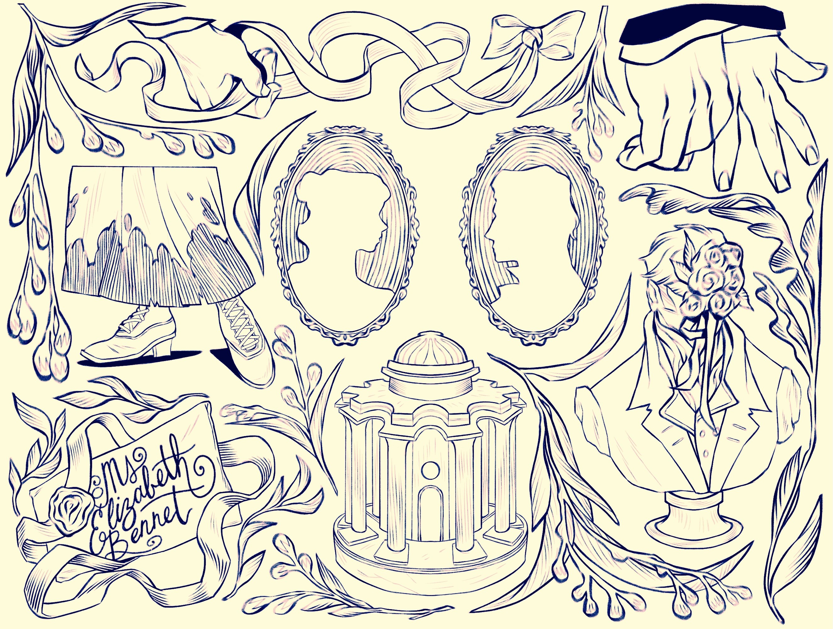 A tattoo flash sheet depicting various symbols and images from the book and movie Pride and Prejudice, including a hand flexing, a dirty skirt, silhouette images of Mr. Darcy and Elizabeth Bennet, a bust of Mr. Darcy, the gazebo, and the letter written to