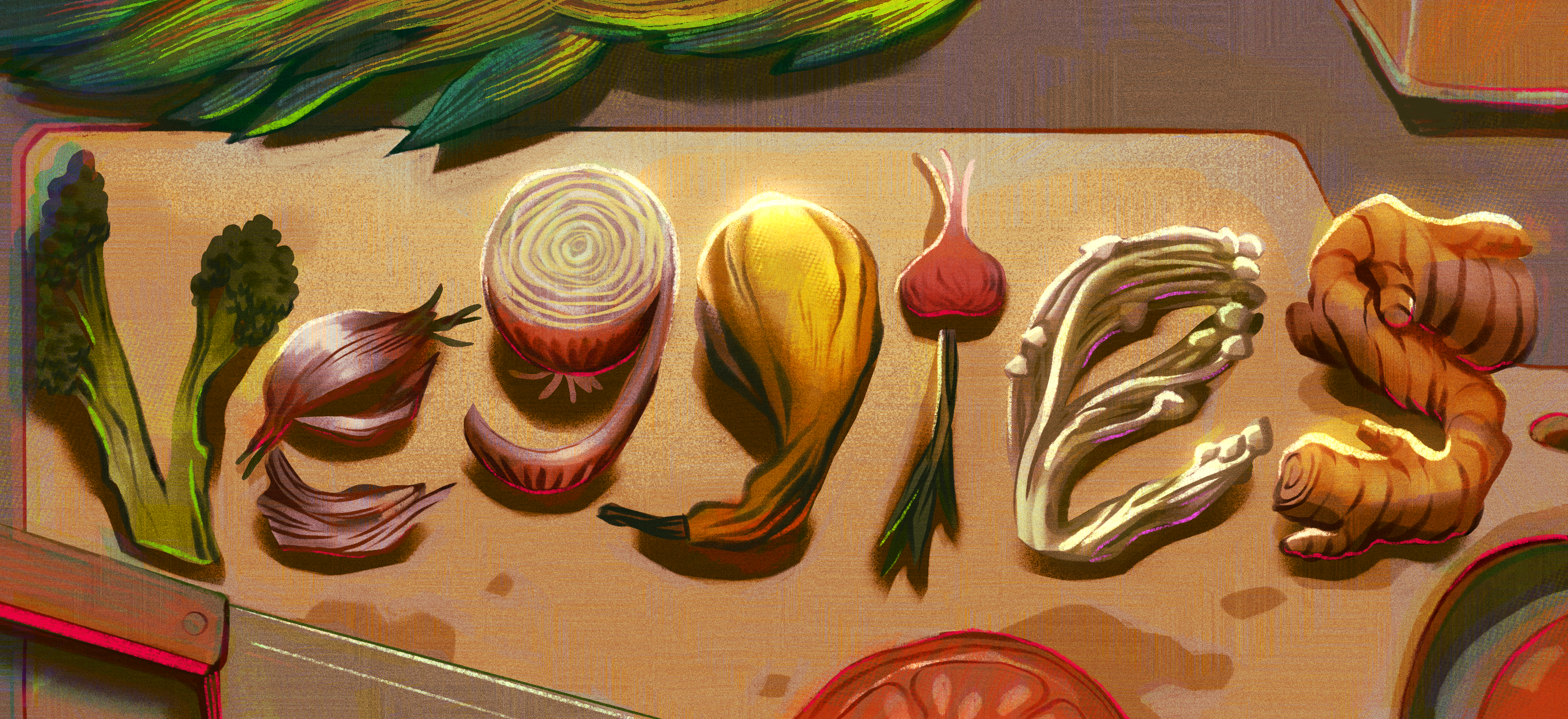 """A horizontal illustration of the word """"Veggies"""" made out of various vegetables, including from left to right broccoli, garlic, onion, squash, a turnip, enoki mushrooms, and ginger. It is displayed on a cutting board with various other cooking ut"""