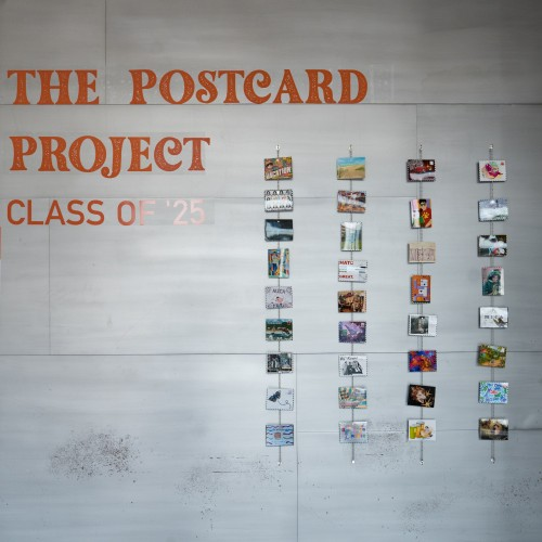 Wall of postcards