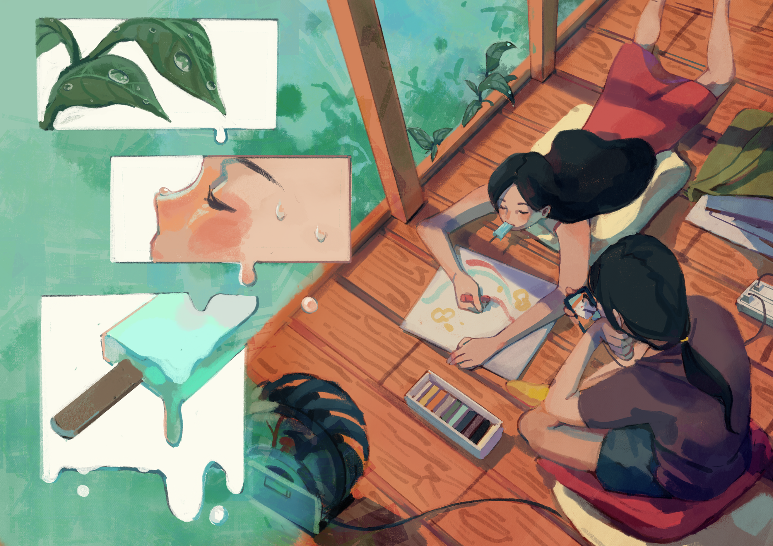 Digital Illustration about a girl and her friend chilling in summer time.
