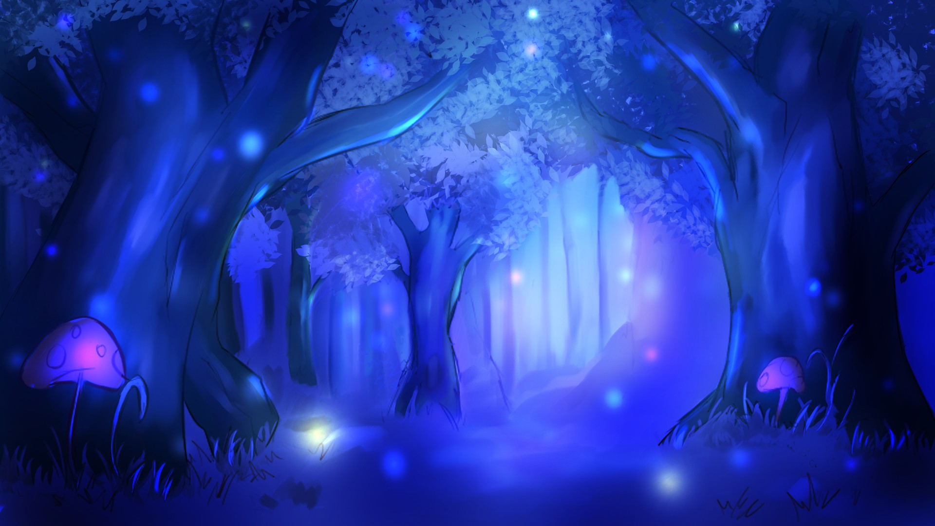 It is called as Shadow Forest that emits bluish calm light, where spirits and ghost live, in animated film Beyond the Far Side