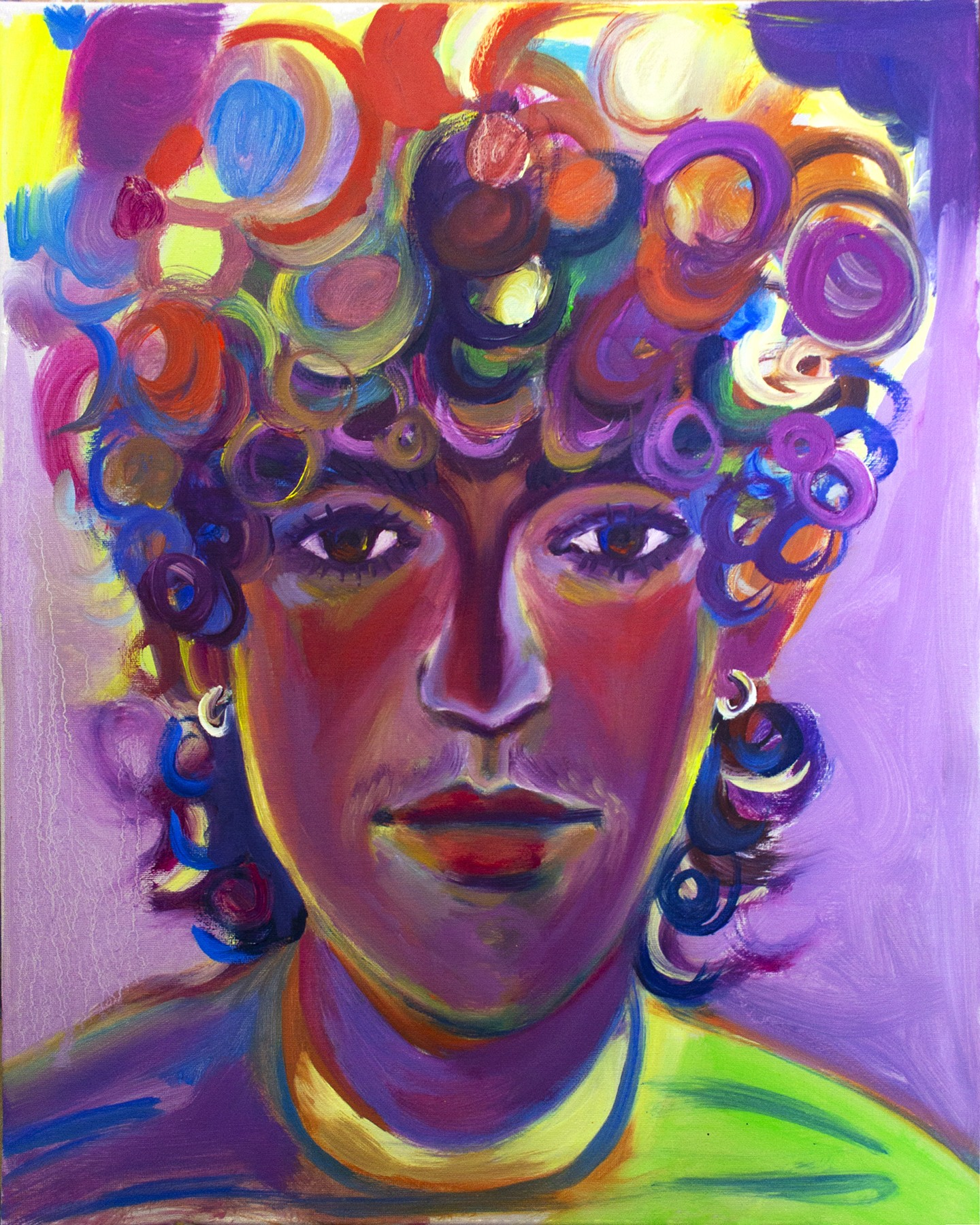 A close up portrait of a face, directly gazing at the viewer, painted with vibrant hues of purples, reds, blues, and greens.