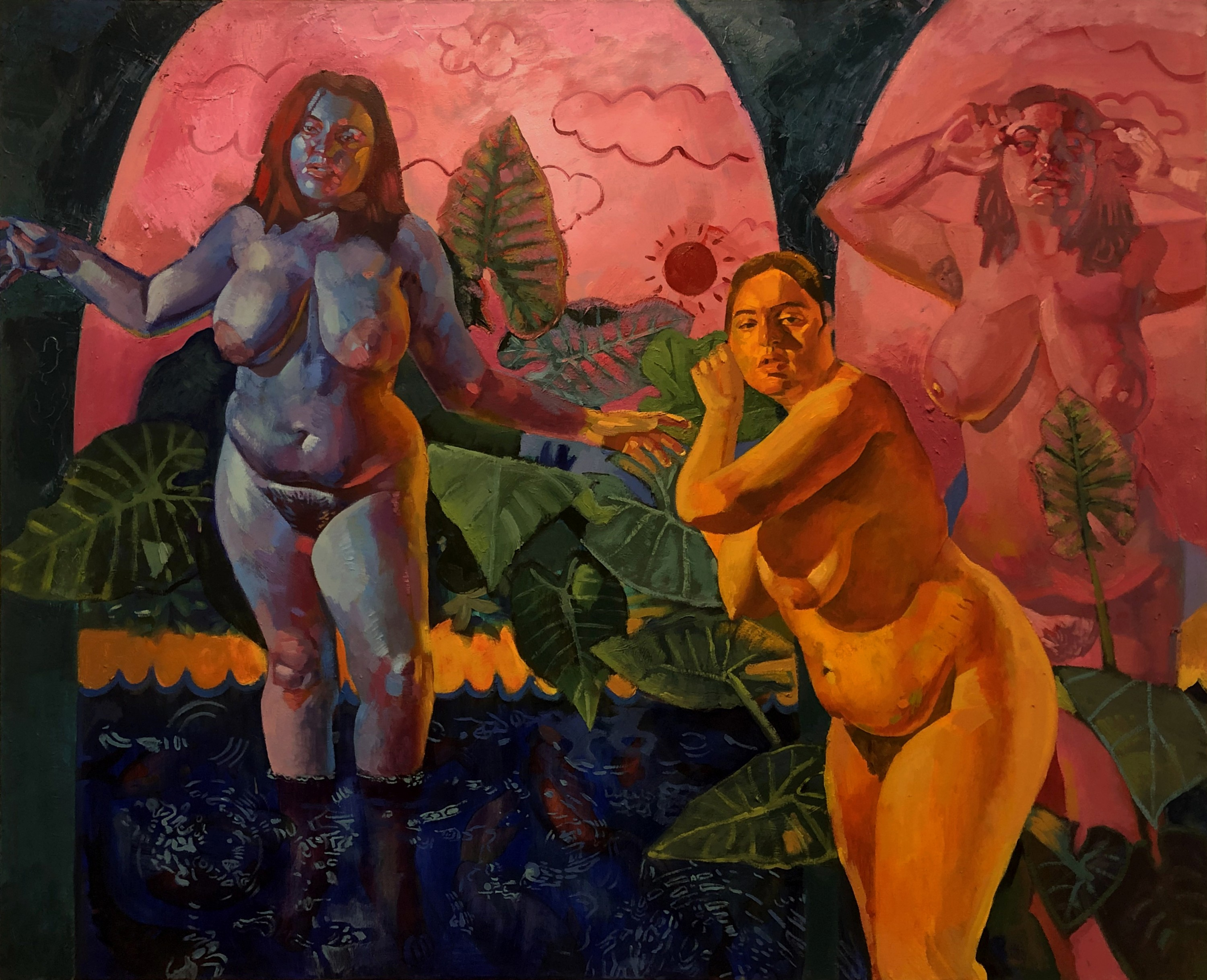Three figures stand together in water, a blue figure to the left has her arms extended, a yellow figure stands in the center, and a pink figure on the right. Each of the figures is looking directly at the viewer. The figures occupy the foreground and the