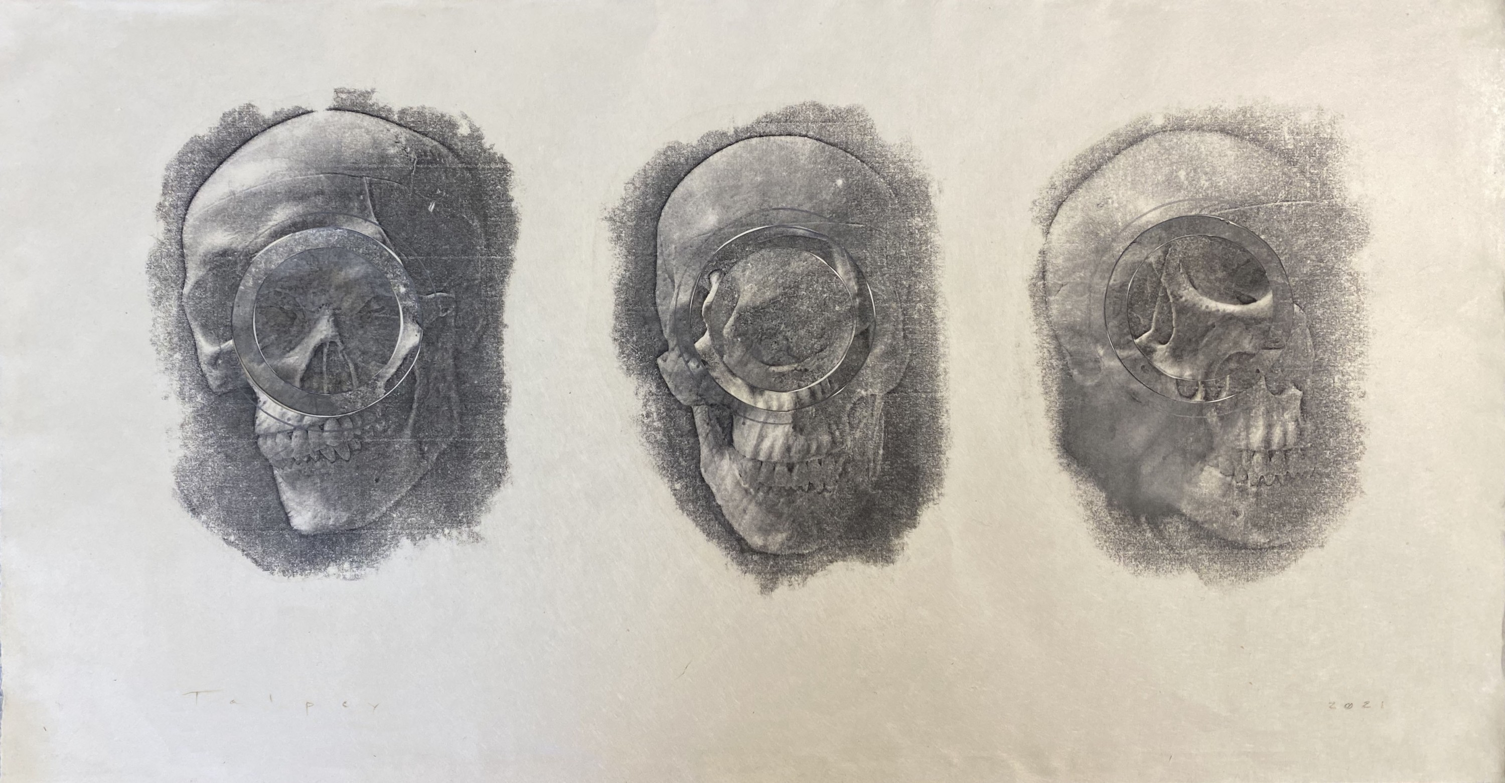 A black and white series of three skulls seen from three different angles, with circular cuts and distortions on each. Depicted in a textural, abstract variety across the picture plane, akin to watercolor painting