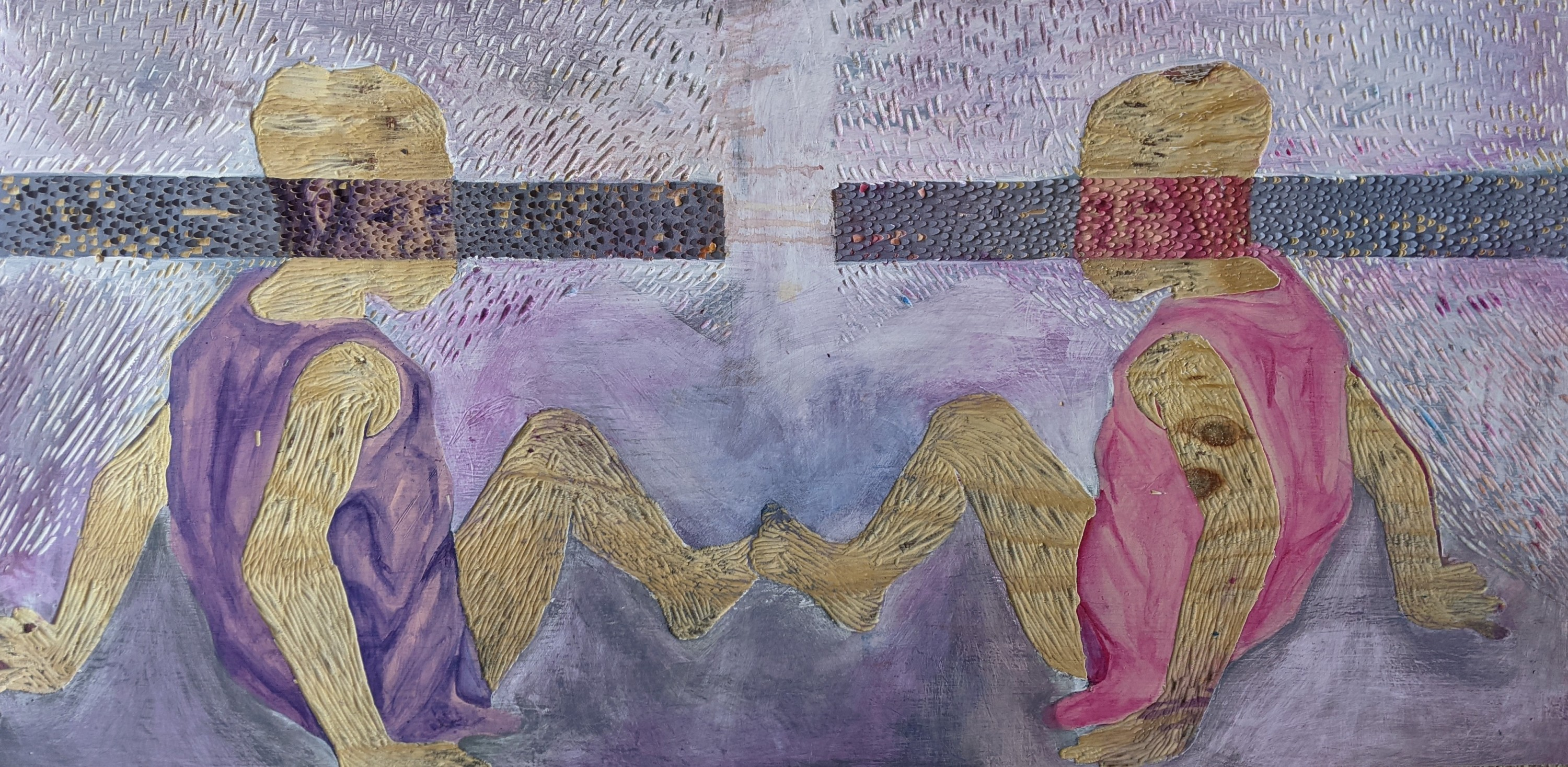 Image of two figures mirroring each other by sitting and facing each other. Their bodies are carved out except for their dress and an area across the eyes.