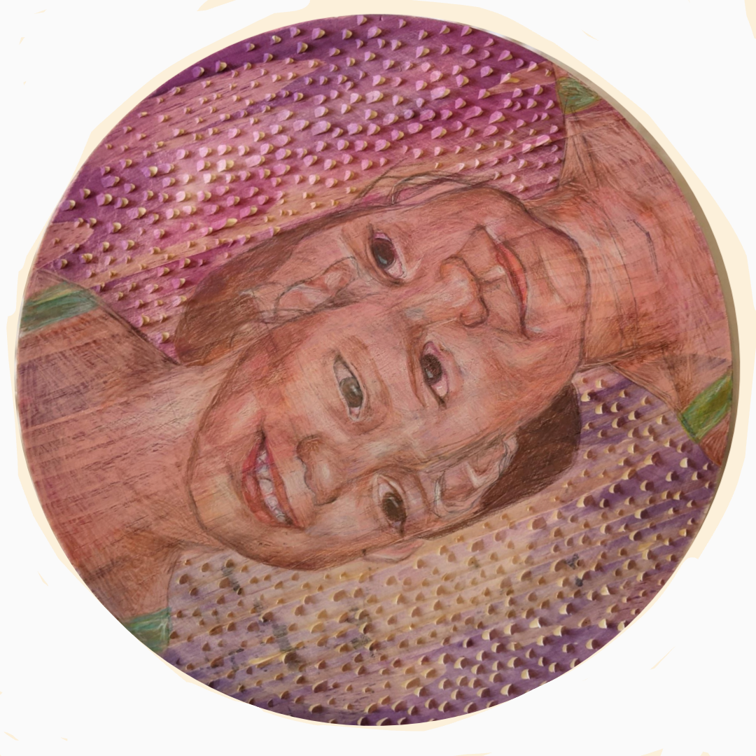 Tondo substrate with two faces of children merging together by their foreheads.