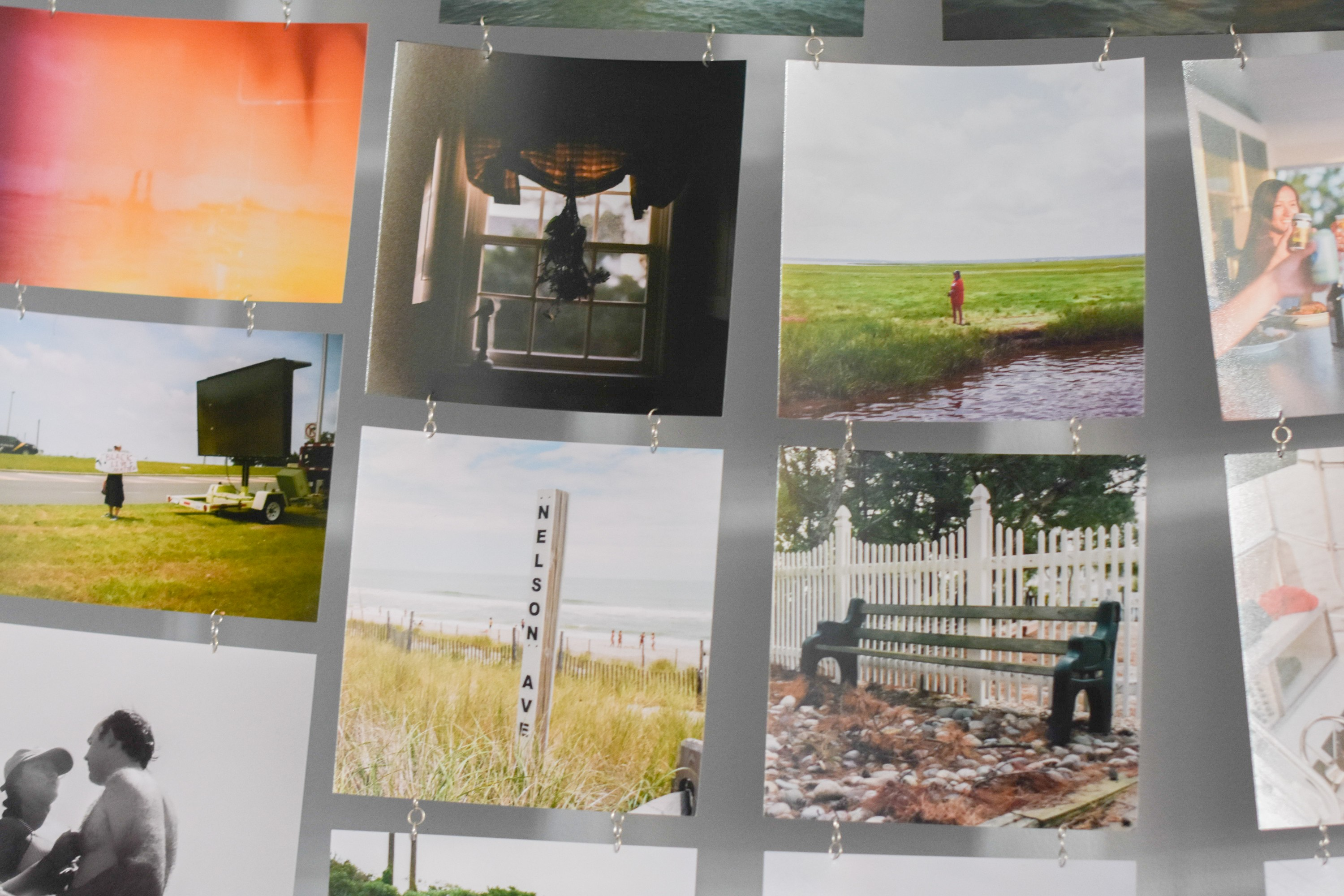 Detail shot of film photograph photos printed and hand chained together.