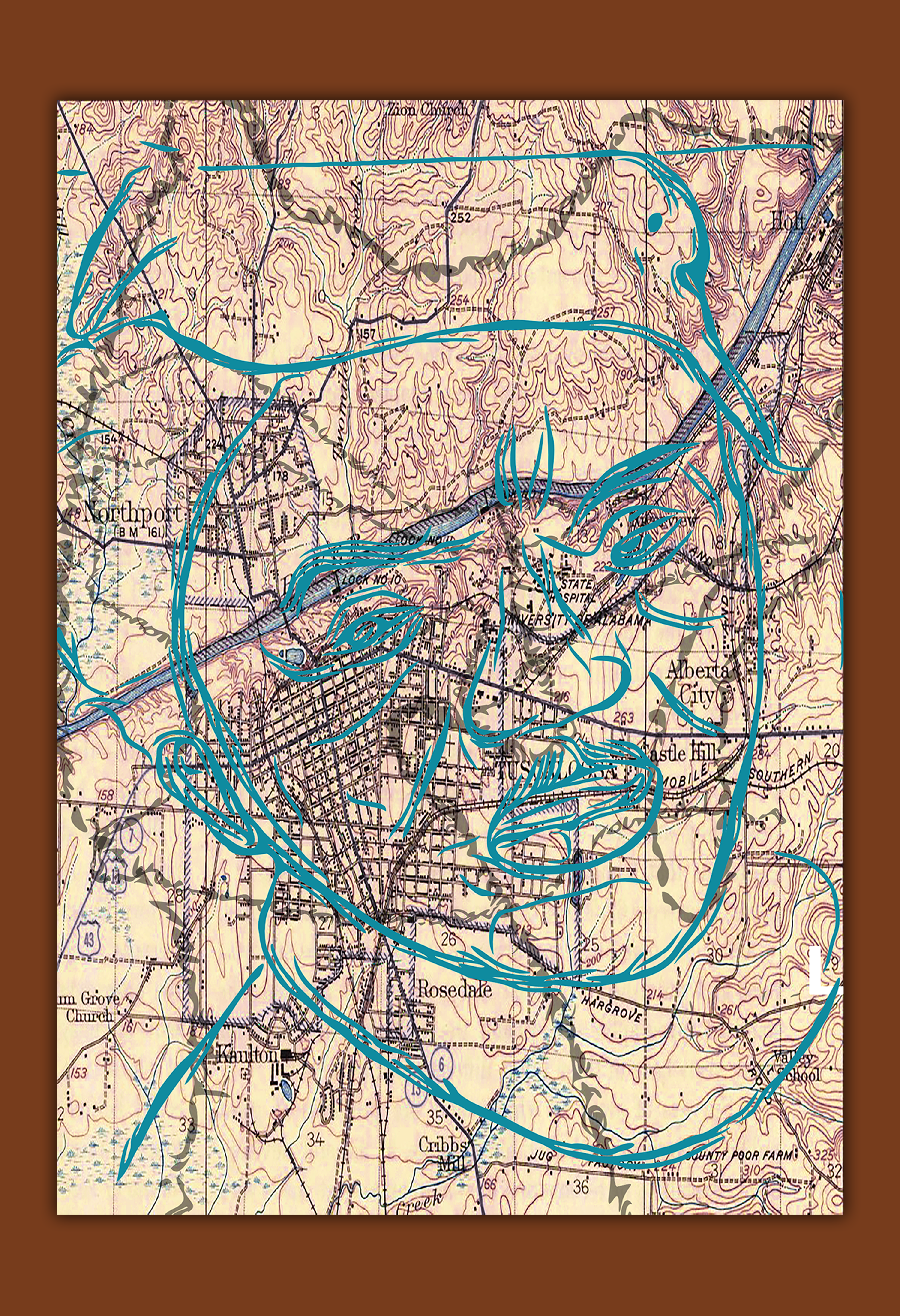 Portrait of my Grandfather, over print sketch over the map of Tuscaloosa, Alabama. My fathers home city map.