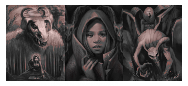 three part illustration, Halloween themed.