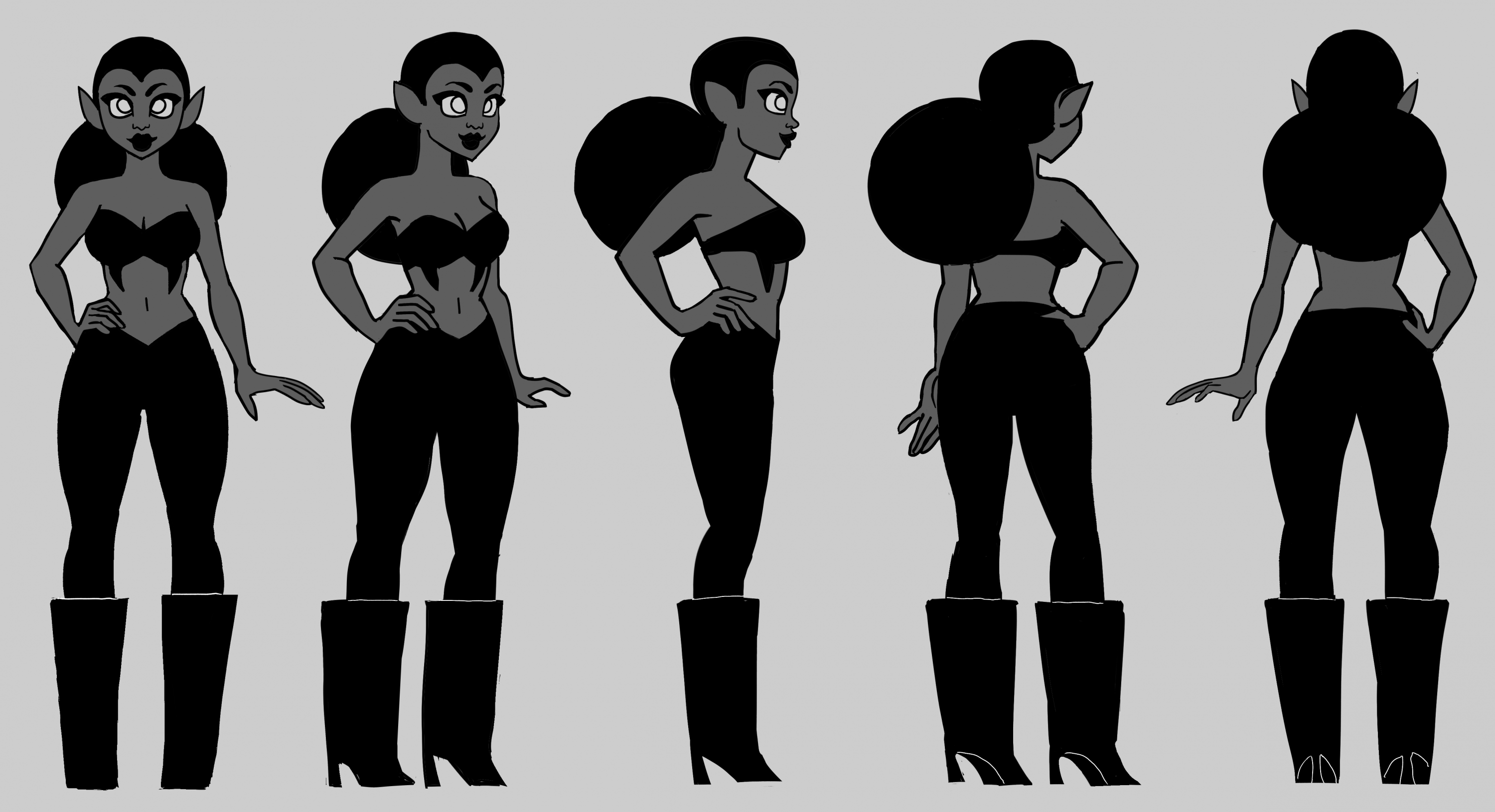 A short woman in black lipstick, with her hair pulled back in a large bun. She's wearing a black cutout top and matching tights, with large black boots. She's illustrated in five angles: including front, back, profile, and 3/4 view. The image is in graysc
