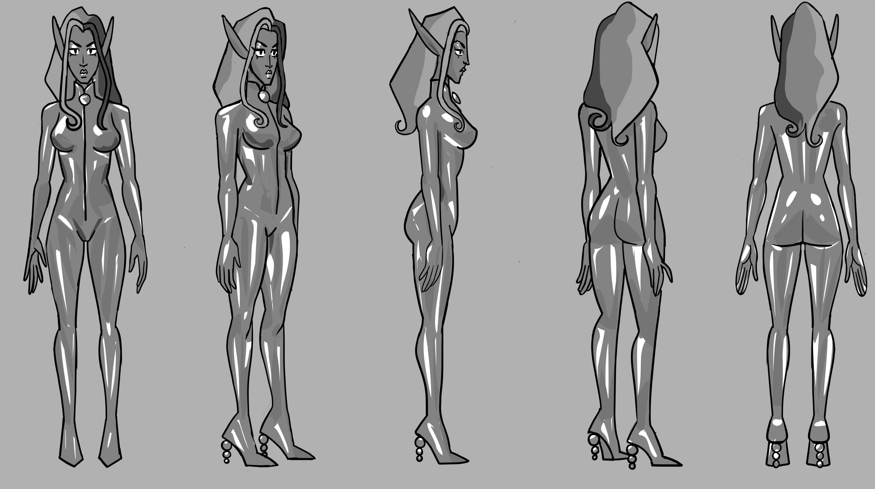 A tall woman with pointed ears, glossy eyelids, and three tone hair. She's wearing a shiny sheer catsuit that terminates in high heels. The zipper pull and heels are clear orbs. She's illustrated in five angles: including front, back, profile, and 3/4 vie