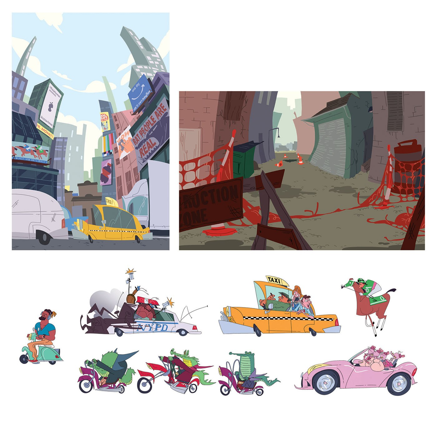 Sixteen stylized characters consisting of rat, alligator, and cockroach humanoids, a hipster, a taxi driver and his two passengers, and a jockey. Along with the characters are their vehicles including cars, motorcycles, and a horse. The next page features
