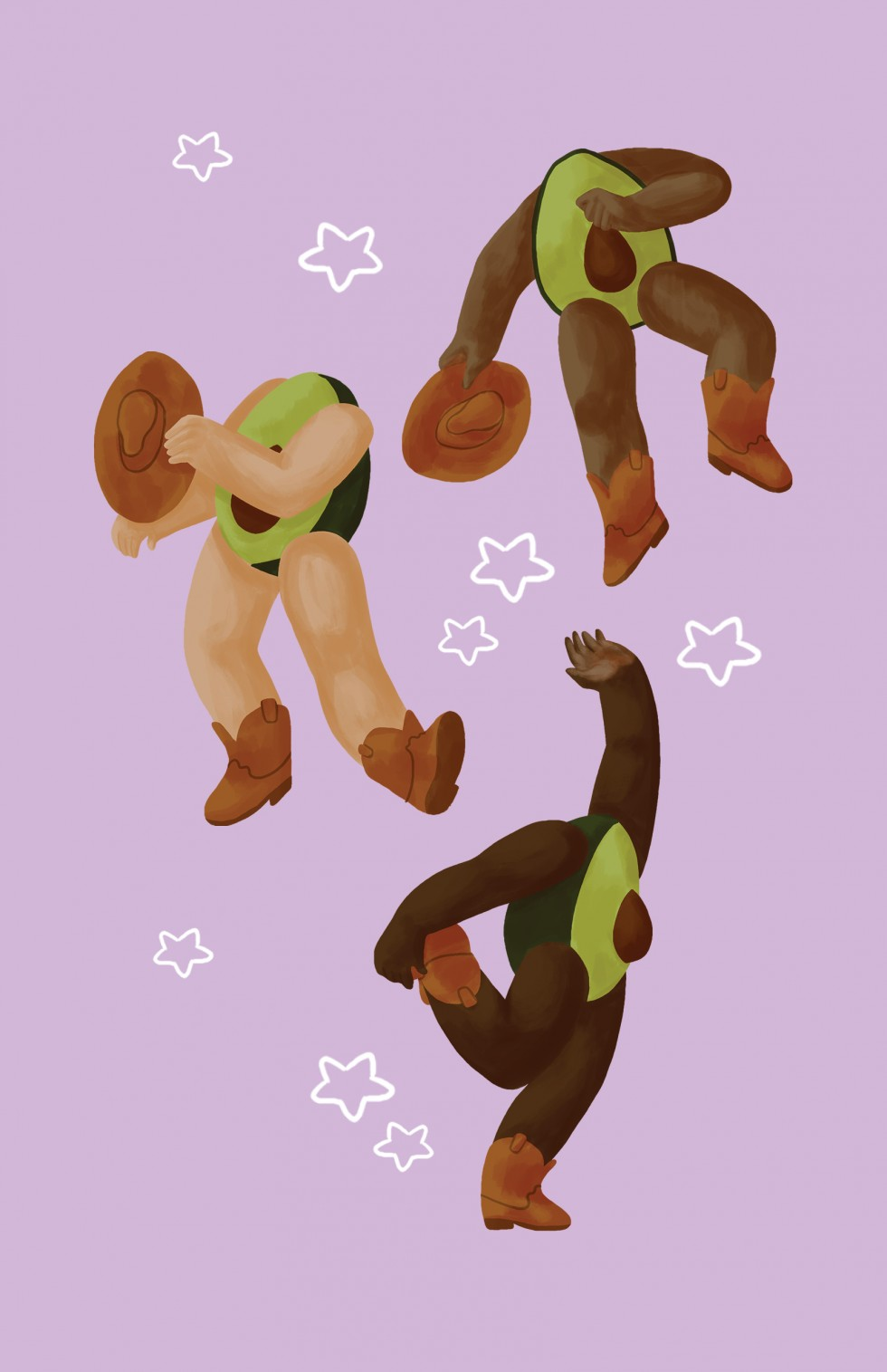 Three avocados with arms and legs wearing cowboy boots and holding cowboy hats are dancing in a country western style on a light purple background. There are white stars from the music pattern surrounding them.