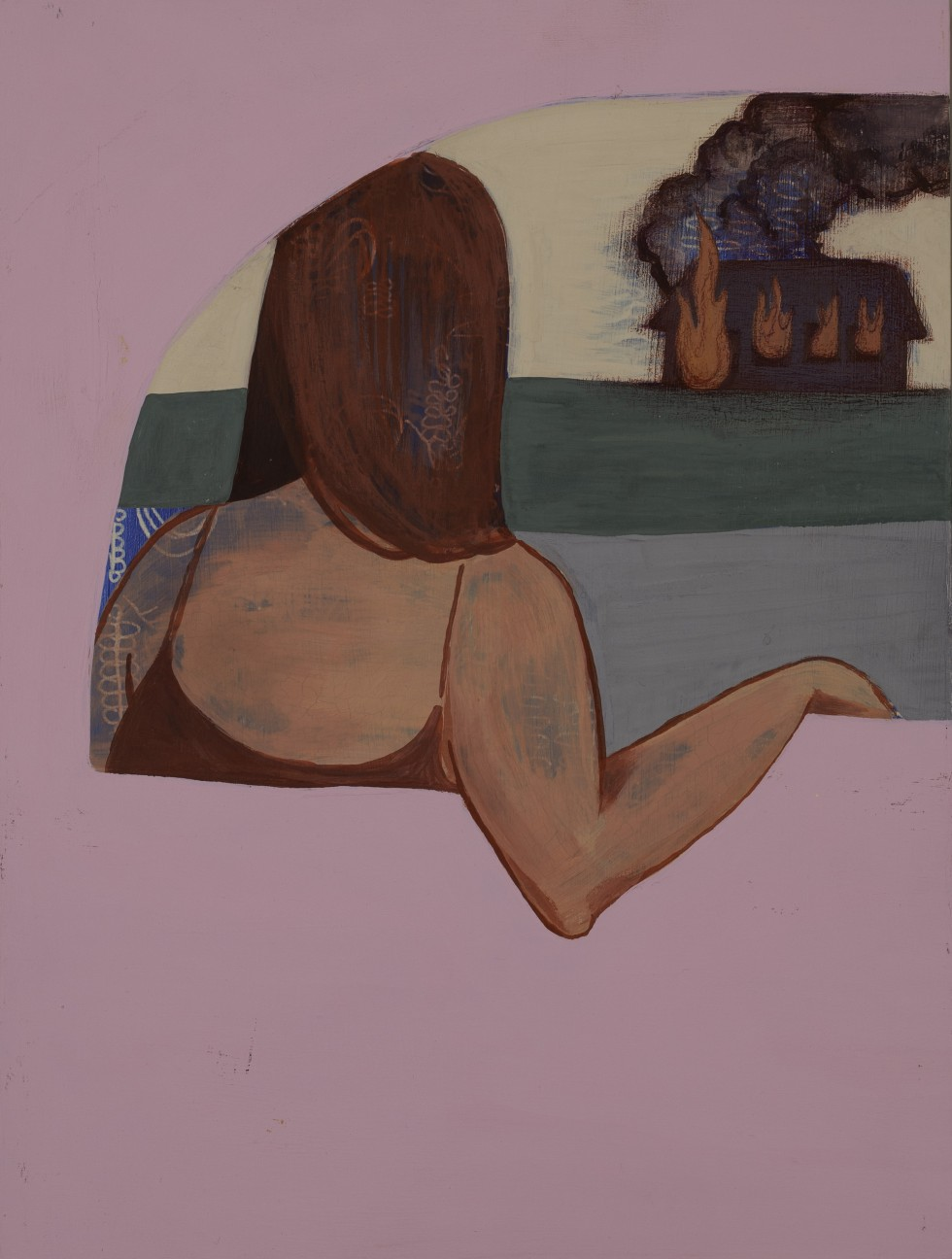 A young  woman looks out at a barn that is smoldering far in the distance. The woman's back is turned towards the viewer. The smoke from the barn and the woman's skin is translucent in places to reveal a blue patterning of lines.