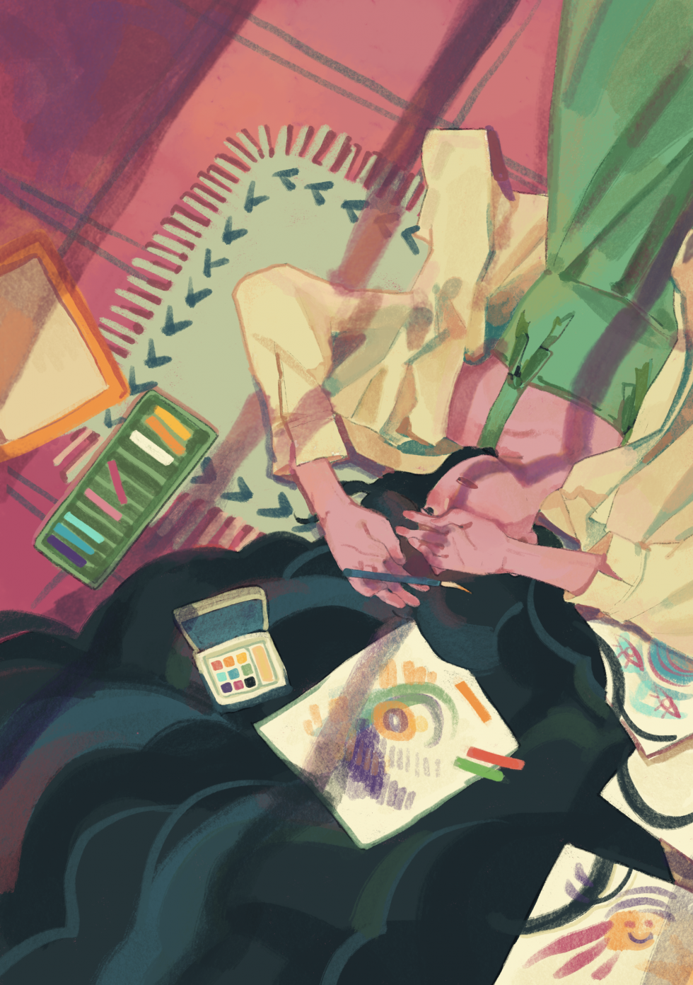 Digital Illustration about a girl having artist block laying on ground/