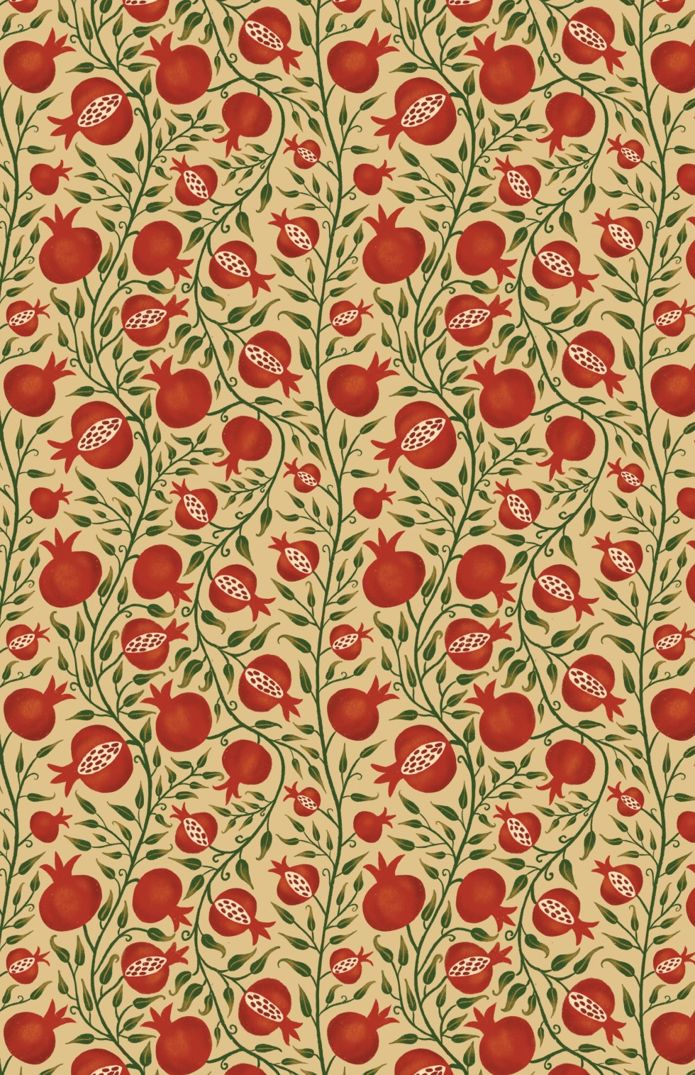 There are three repeating patterns that are red, green, white, and yellow. The first pattern is winding vines with pomegranate fruit growing out of them. The second pattern has European folk style flowers with swords and bows and arrows mixed in. The thir