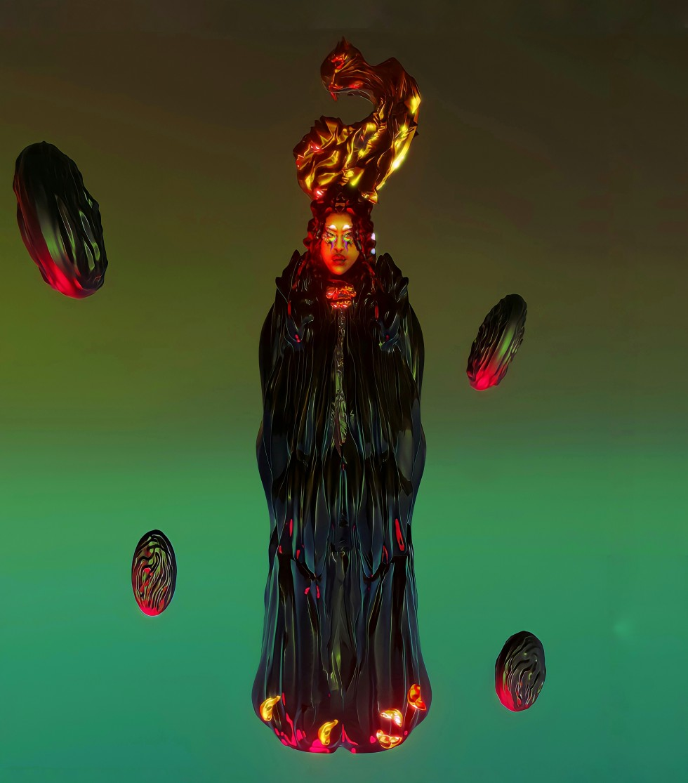 figure in reflective black cloak floating in space with green and red lighting. four red discs are floating around them.
