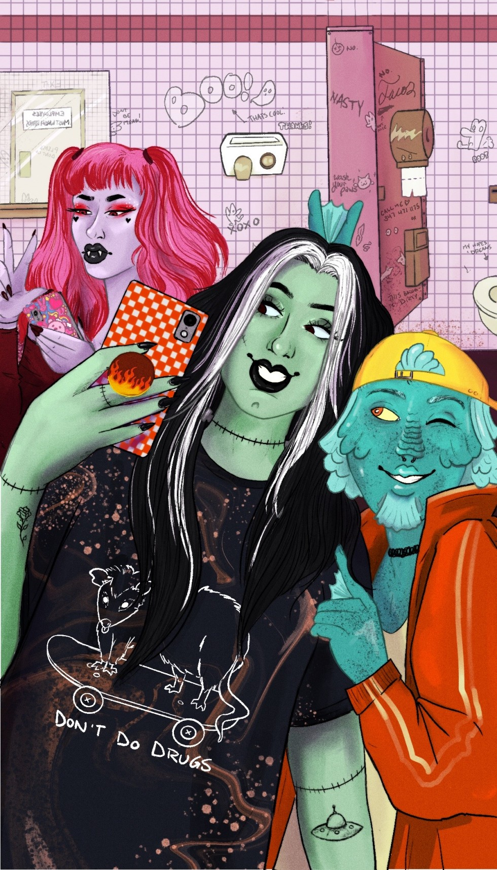 Illustration of three monster friends taking a selfie in a pink graffiti filled bathroom.