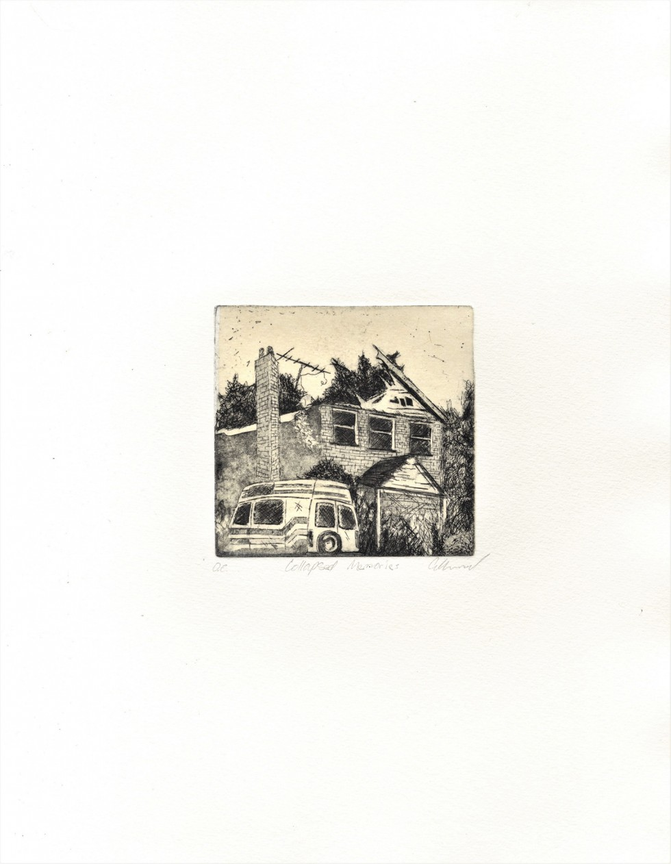 Small copper etchings of various abandoned buildings I have photographed over the years.