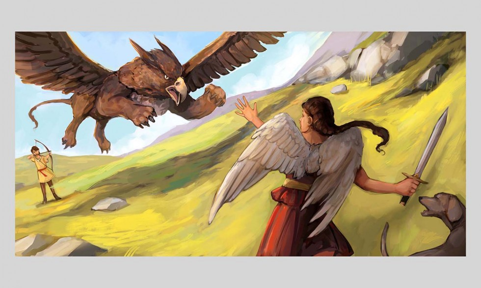 Nike, on the far right, is stopping a large griffin who is flying right towards her. Next to her is a dog, barking at the griffin. Behind the griffin is a young boy, holding his bow and arrow; ready to strike.