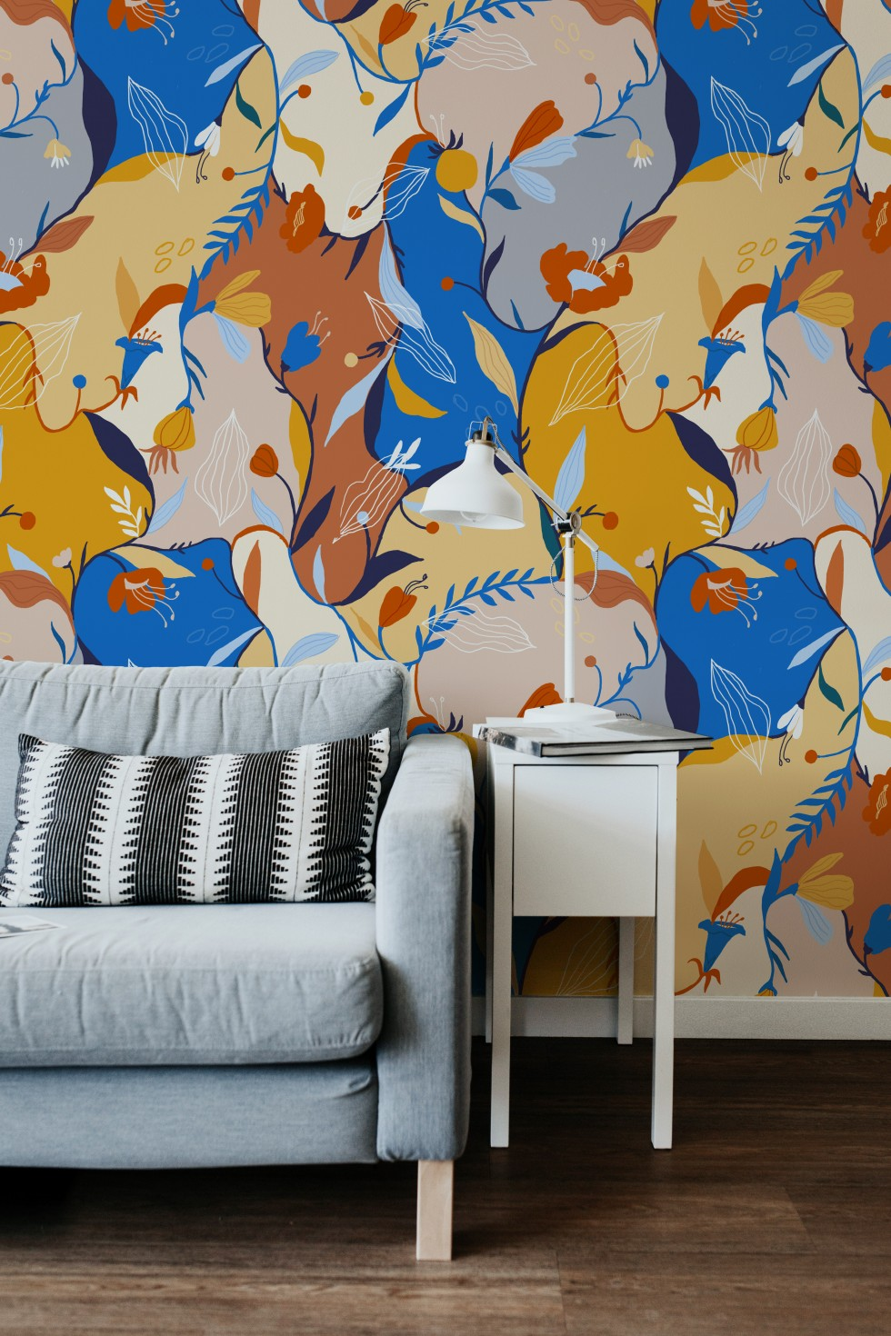 A colorful patterns full of birds and flowers are mocked on ceramics and wallpaper.