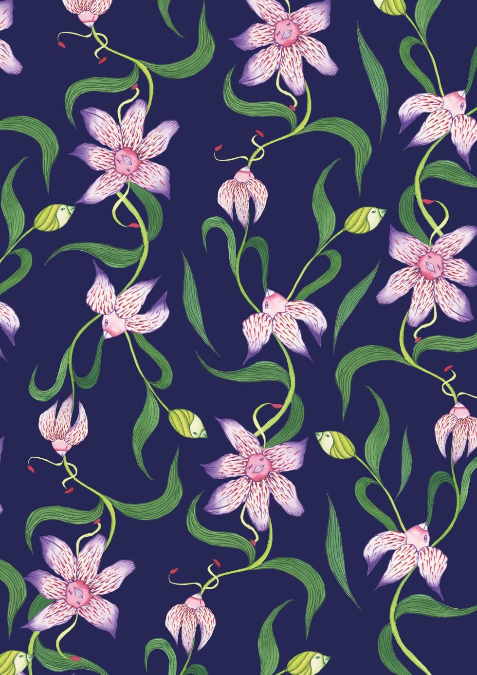watercolor of Lilium speciosum