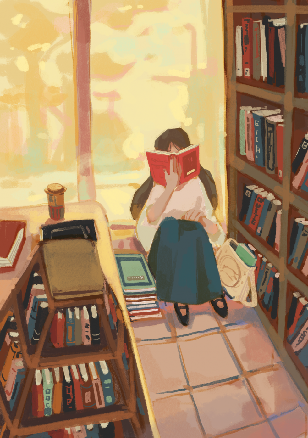Digital Illustration about a girl reading a book in the corner of a bookstore