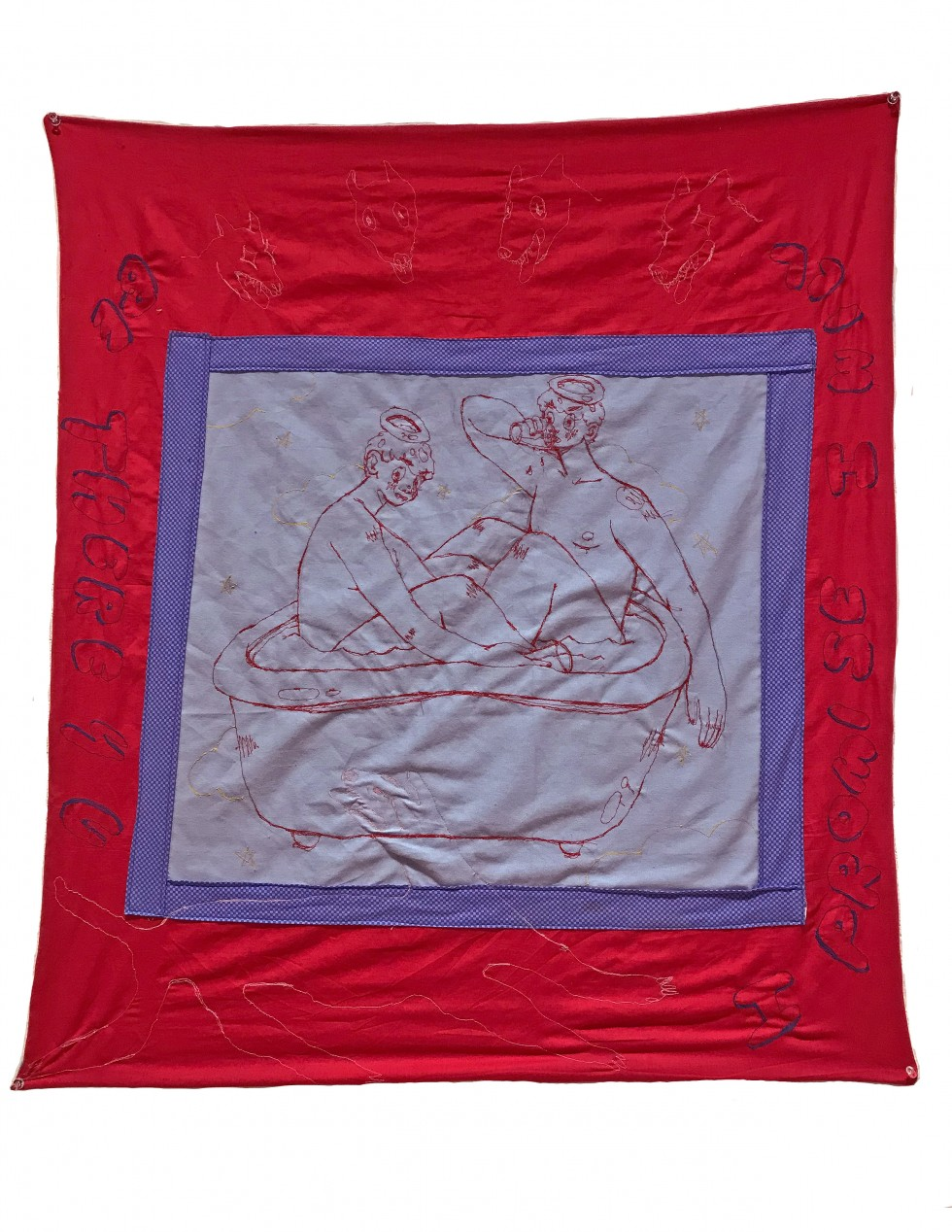 "A large rectangle of red fabric with a smaller square of blue fabric at the center. In the middle of the blue square is an embroidered image of two boys sitting in a bathtub. Surrounding them are five dogs and the words ""I promise I will be there 4 u."""