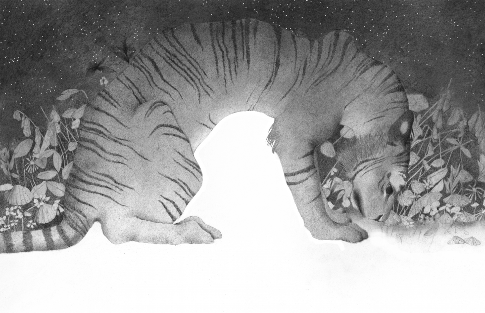 A black-and-white nighttime scene of a tiger arched over a bed of flowers.
