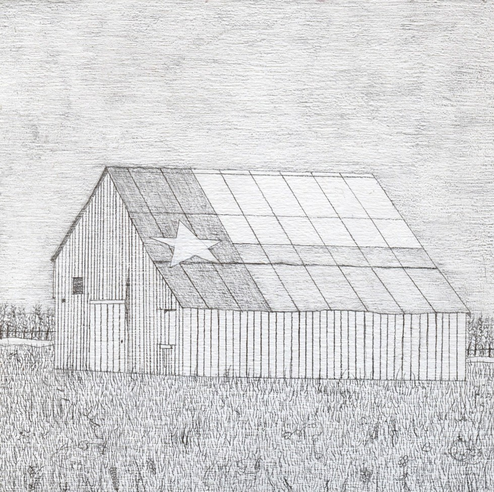 Drawing of a small barn with Texas flag painted on the roof.