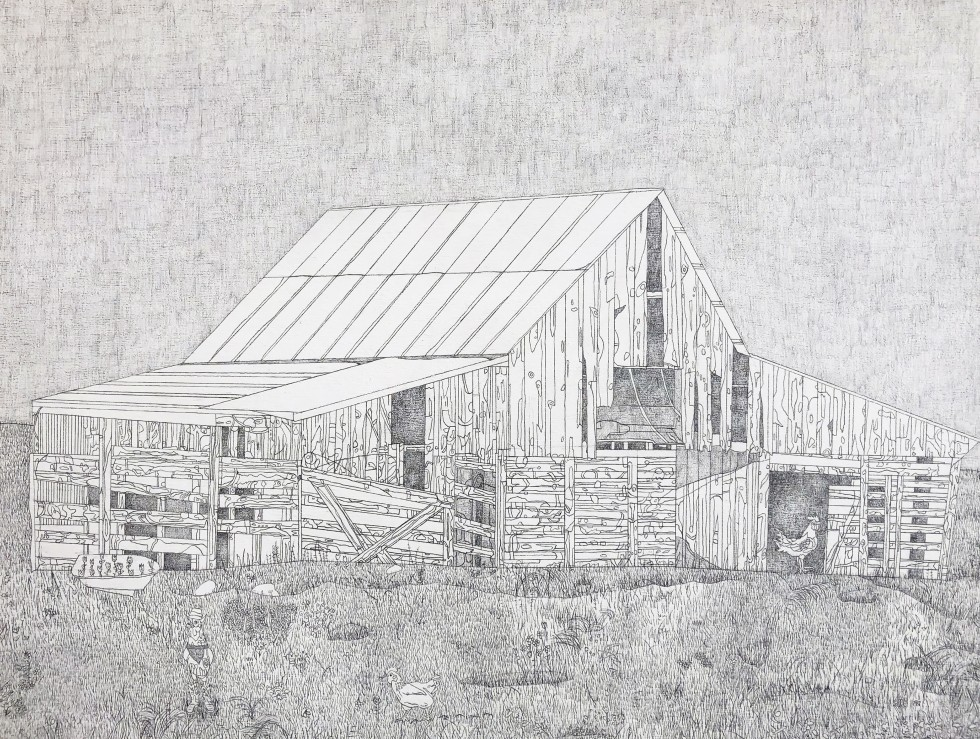 Drawing of an abandoned wood barn accompanied by a plentiful landscape and chickens.
