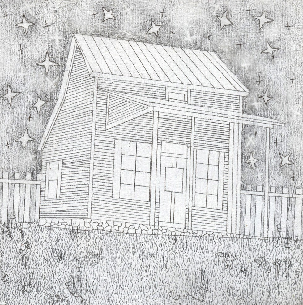 Drawing of wooden house with fence and yard under the stars.