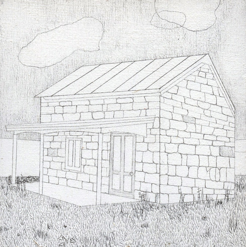 Drawing of small stone house with a front porch and cloudy sky.