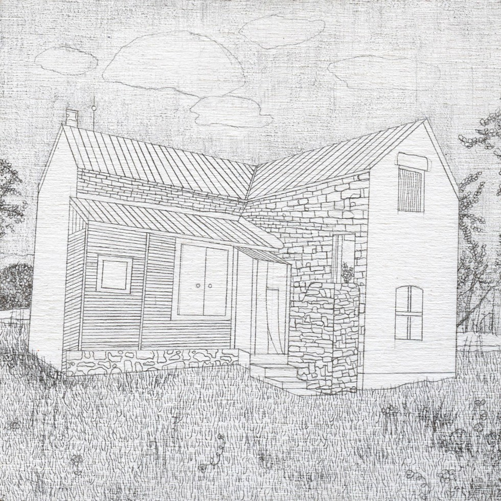 Drawing of wood and stone house on grassy field.