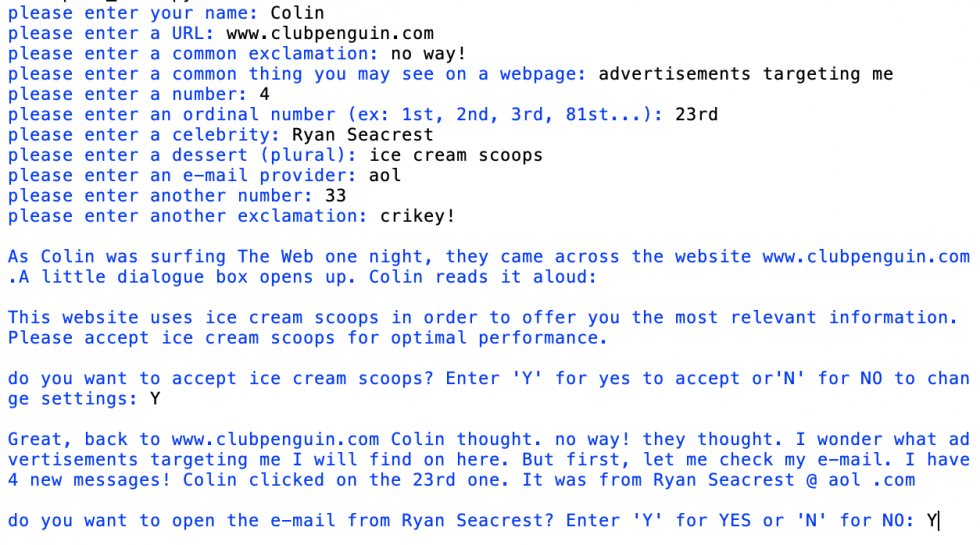 "Scam Libs is a scam email generator written in python. Drawing inspiration from the formulaic narrative of the Scam email (""Advance-fee scam"" or 419), to be nothing more than a template for a game of Mad Libs, Scam Libs is an attempt at creating the 'cust"