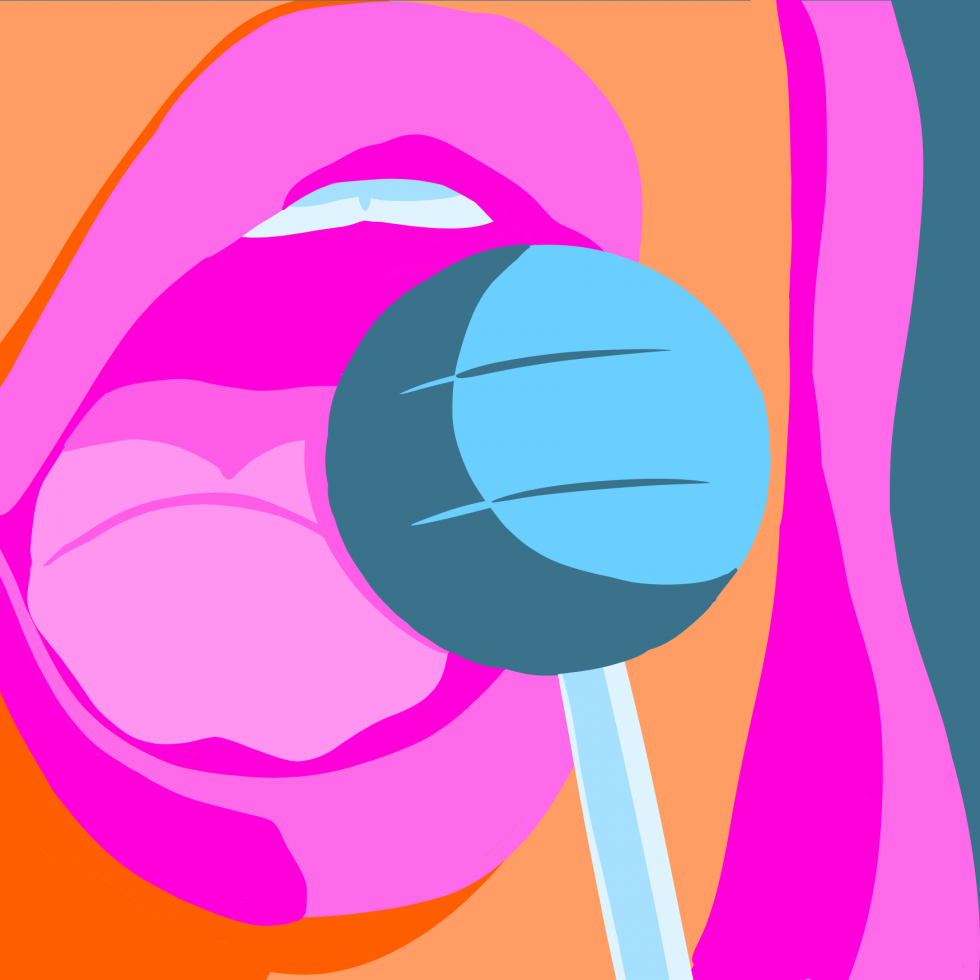 A close-up of a woman's mouth as she prepares to lick a lollipop.