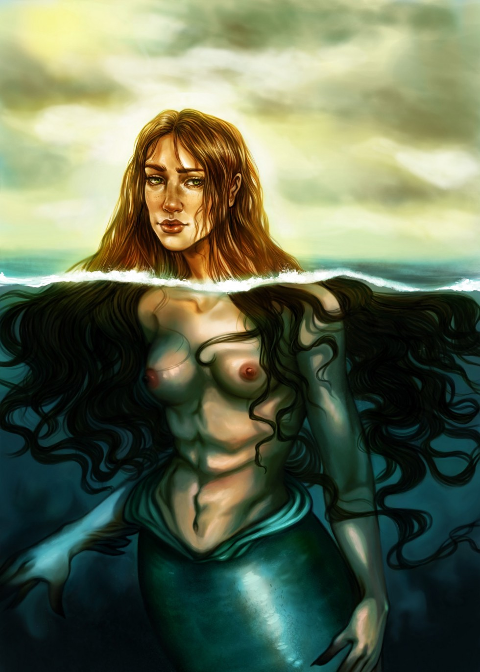 A blue green yellow and teal color palette. The image is a  mermaid, half submerged in water. You can see her face about the water line and beneath the water is her bare chest and her shiny green tail.