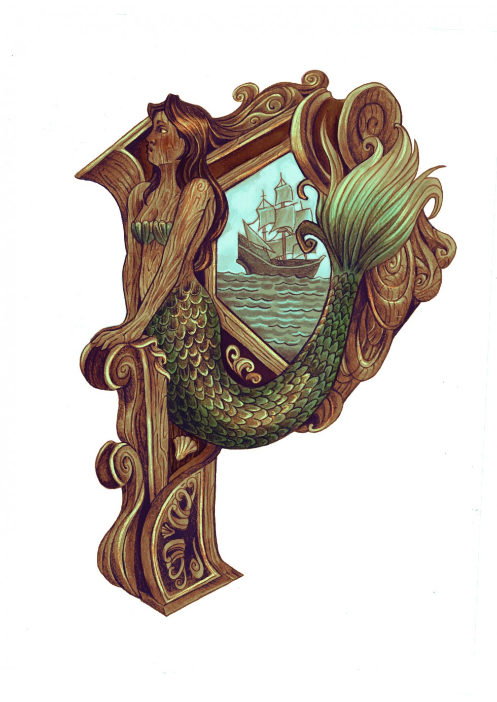 """This image is a drop cap letter """"P"""" the letter its self is designed to resemble a gothic lettering style if it were a three dimension wood carving on a ship. The stem of the letter is a carved mermaid whose tail sweeps around the bottom loop of the """"P"""" in"""