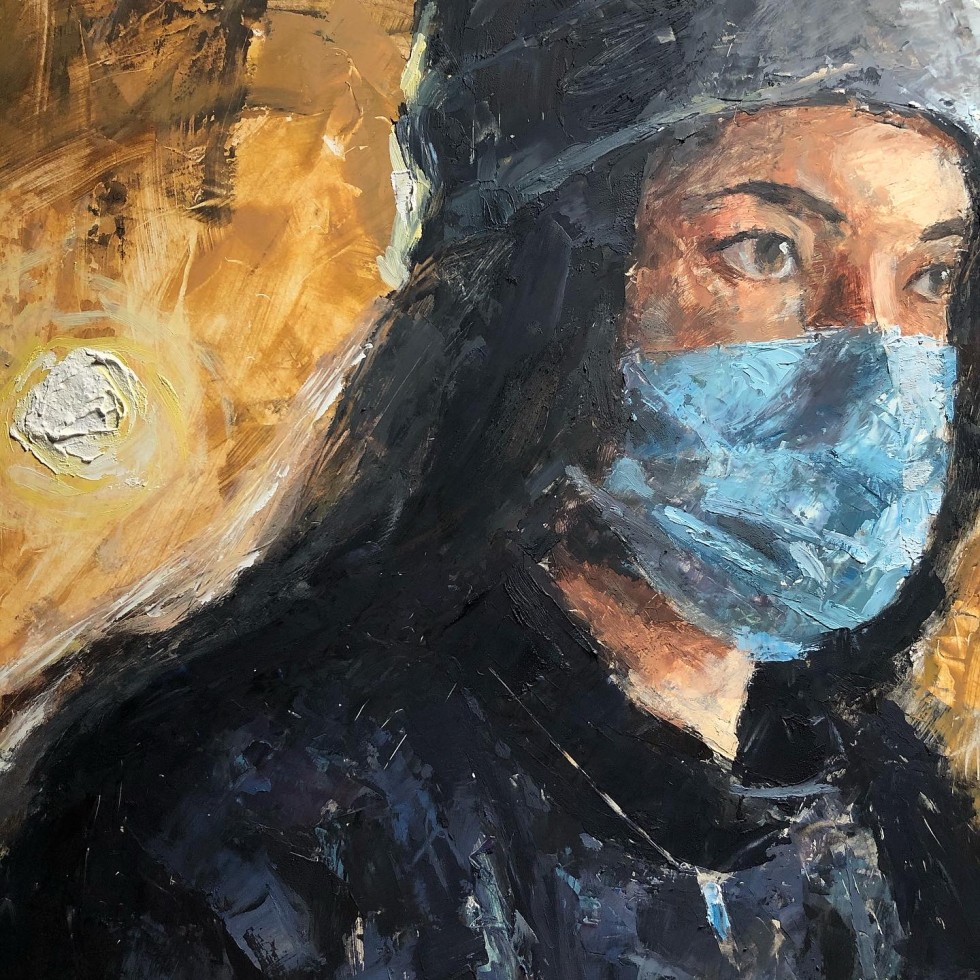 This piece, A Typical Day, depicts a portrait of a girl who is outside with her mask on. There is a very textured orb behind her which is like a setting Sun which illuminates a golden space. What's unique about this piece unlike the other pieces exhibited